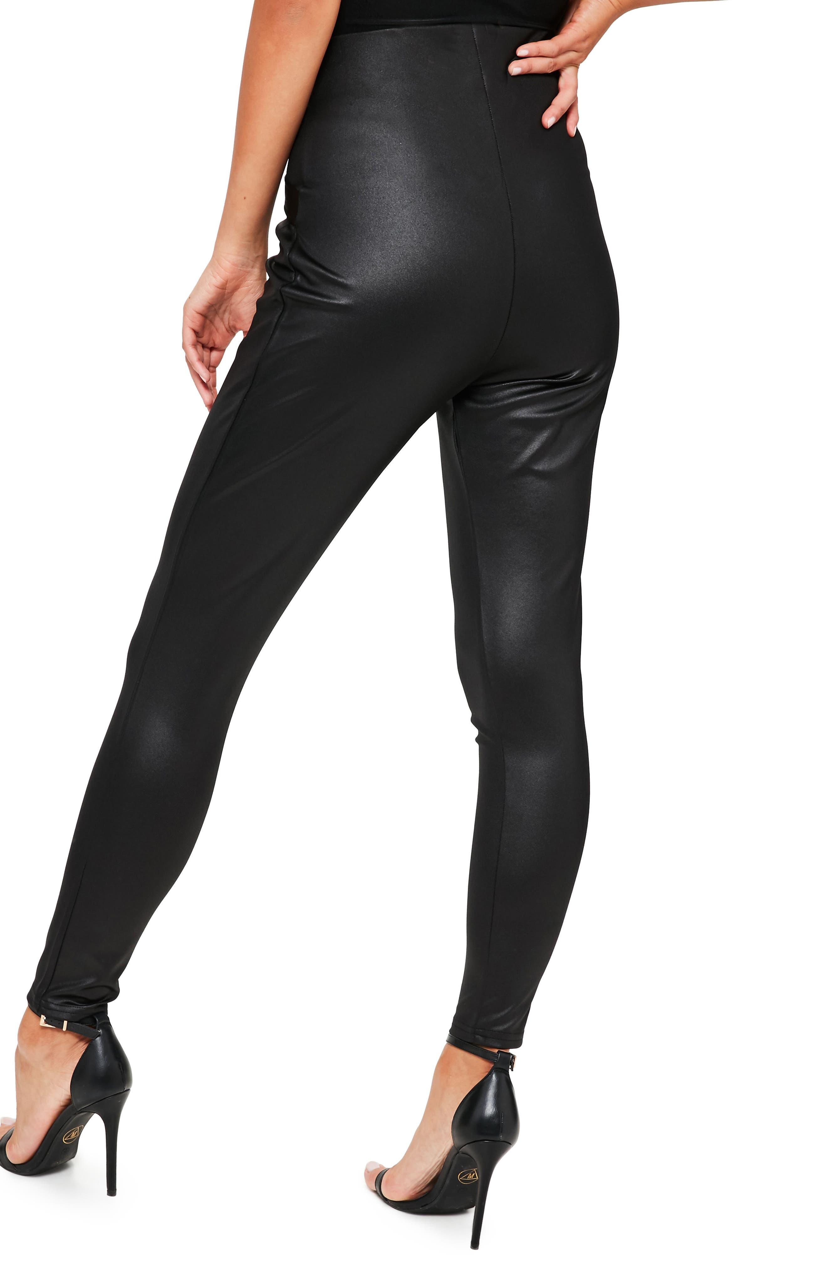 Harness Detail Faux Leather Leggings,                             Alternate thumbnail 2, color,                             001