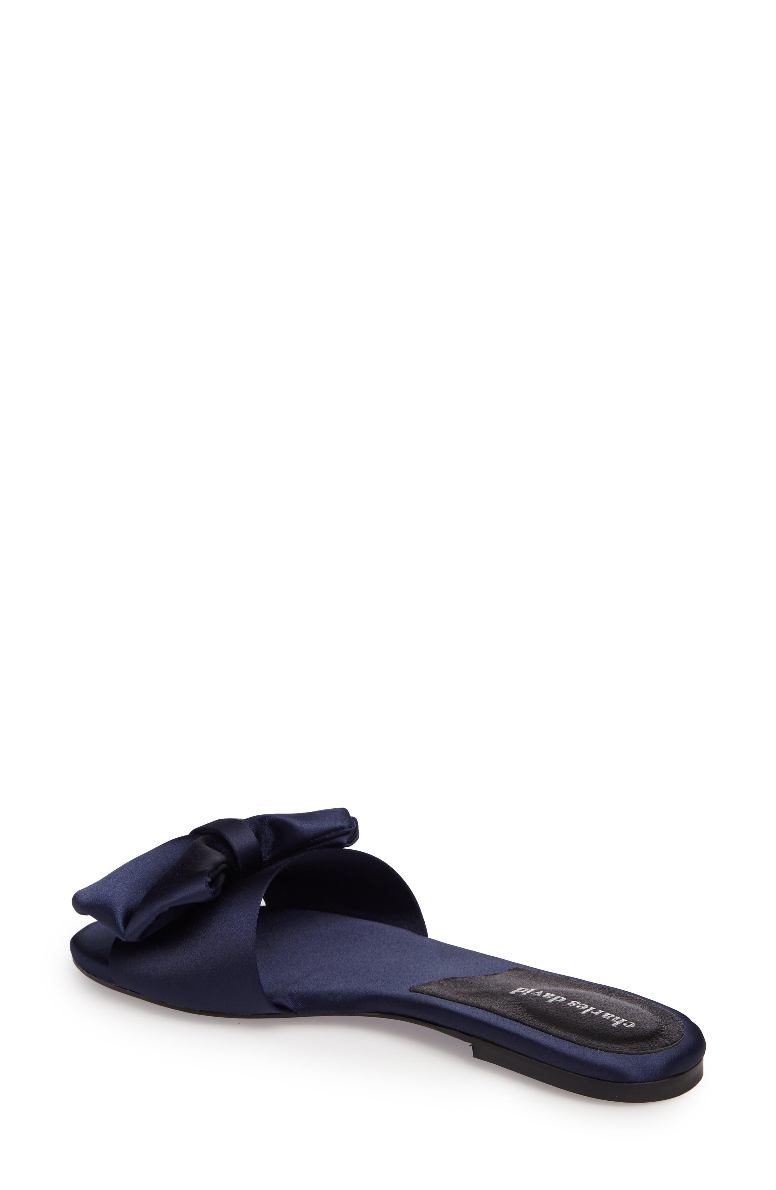 Bow Slide Sandal,                             Alternate thumbnail 2, color,                             NAVY SATIN