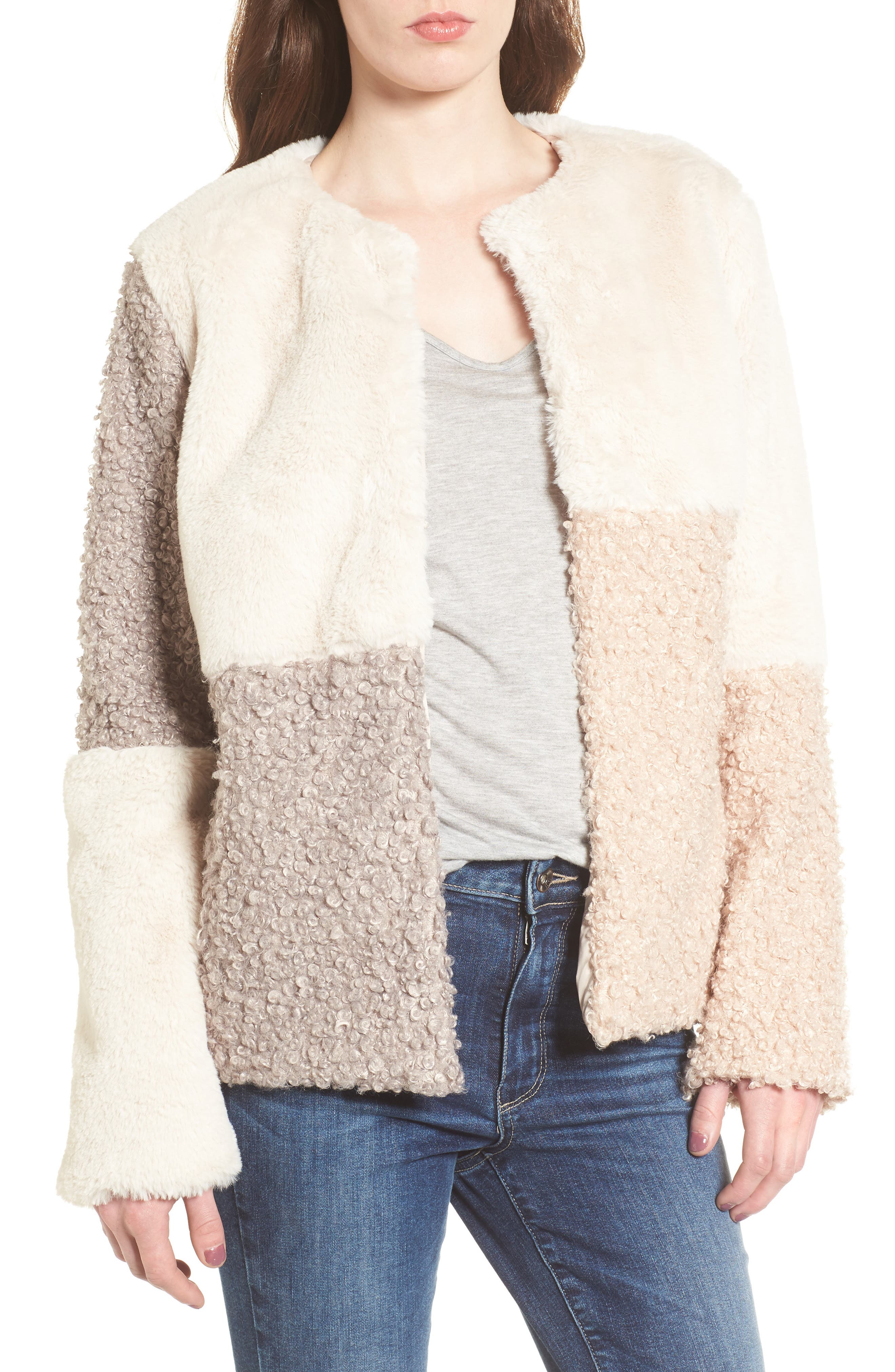 Patchwork Faux Fur Coat,                             Main thumbnail 1, color,