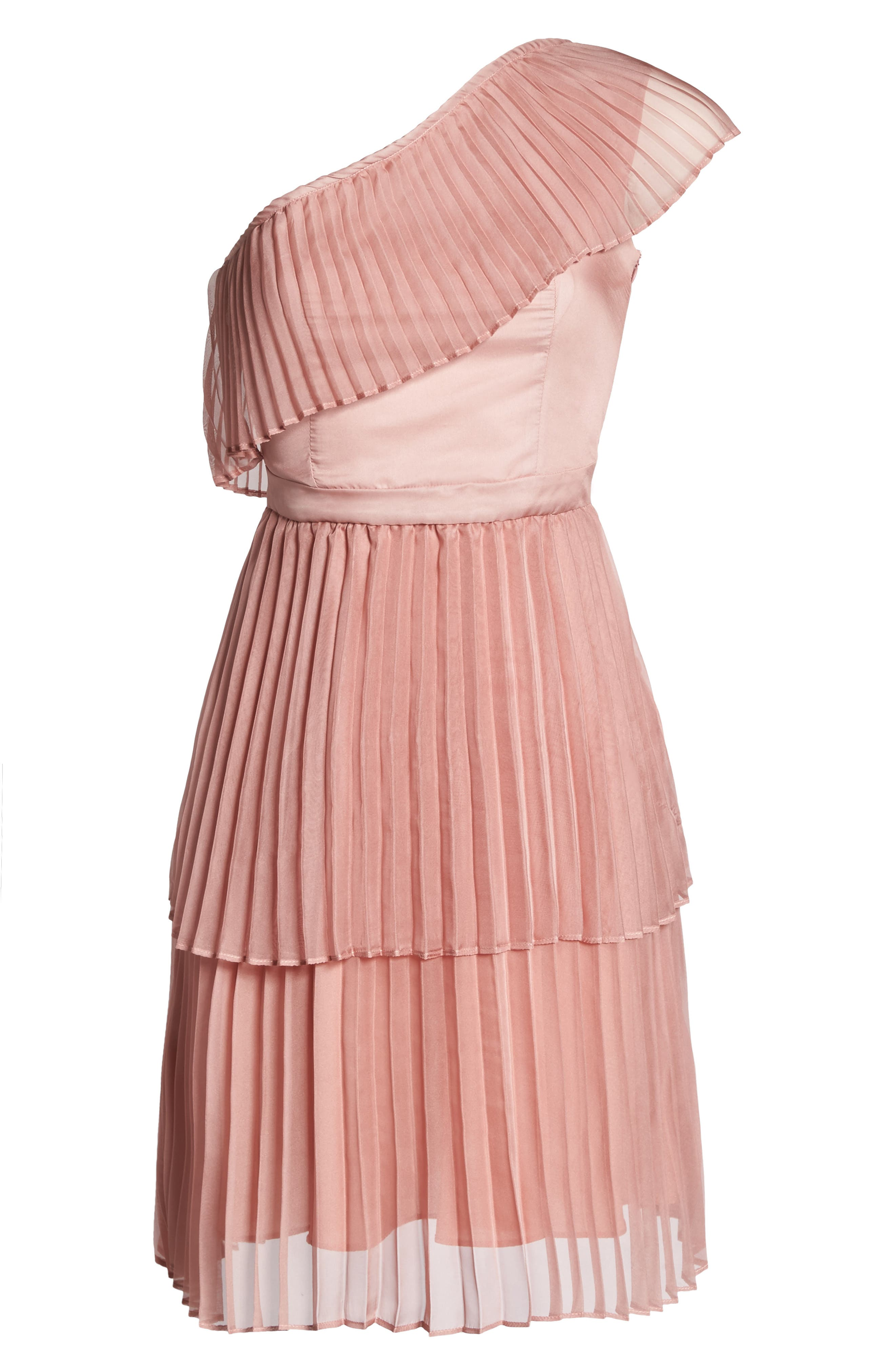 Pleated Tiered One-Shoulder Dress,                             Alternate thumbnail 6, color,