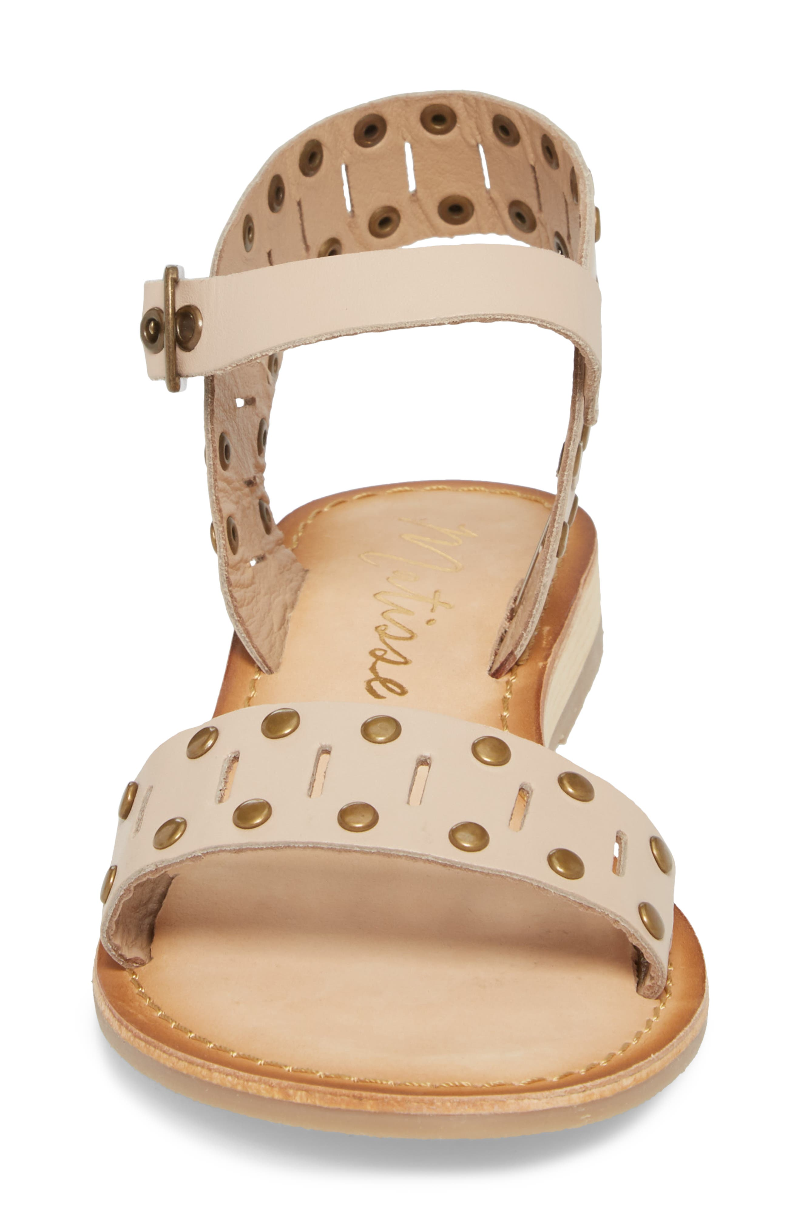 Ravenna Quarter Strap Sandal,                             Alternate thumbnail 4, color,                             NATURAL LEATHER