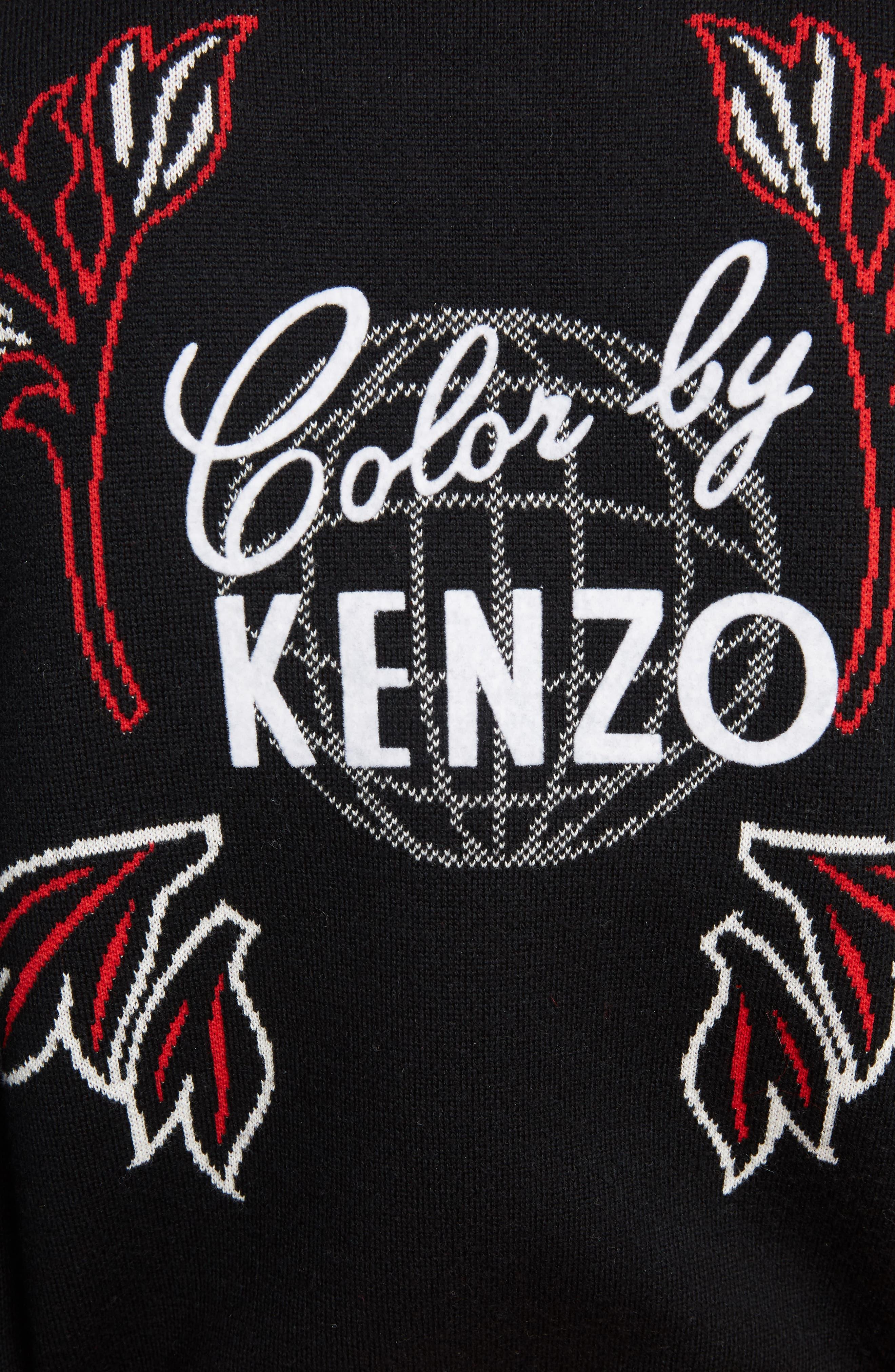 Dragon Wool Blend Jacquard Sweater,                             Alternate thumbnail 5, color,                             BLACK