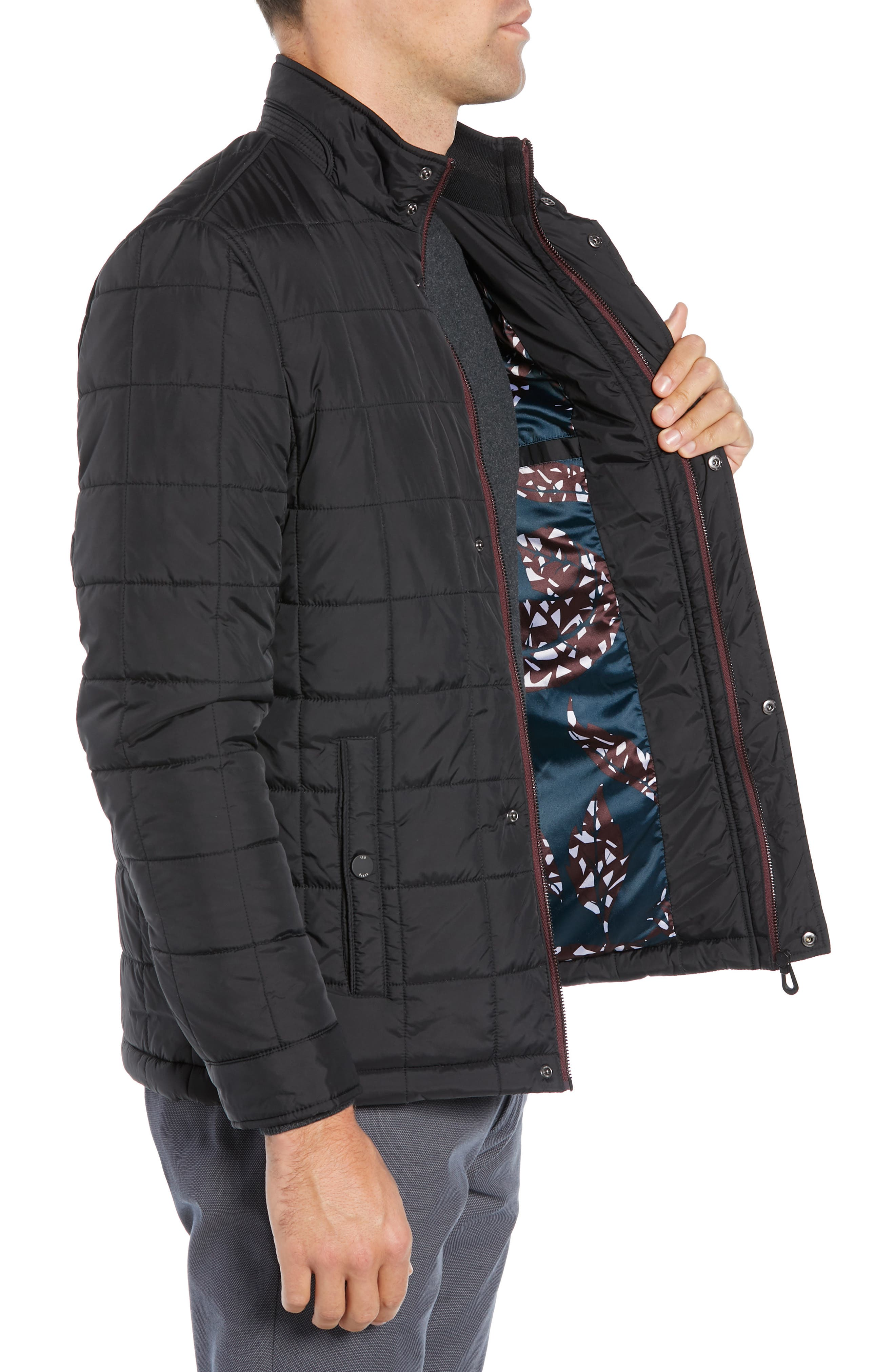 Lesta Quilted Slim Fit Jacket,                             Alternate thumbnail 3, color,                             BLACK