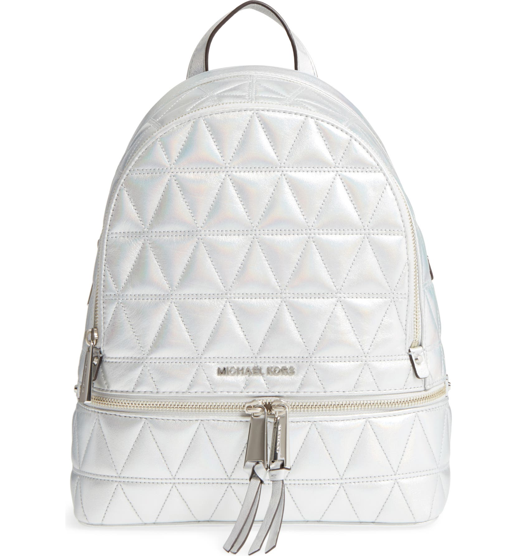 ce86233ec3e1 Rhea Medium Metallic Quilted Leather Backpack- Fenix Toulouse Handball