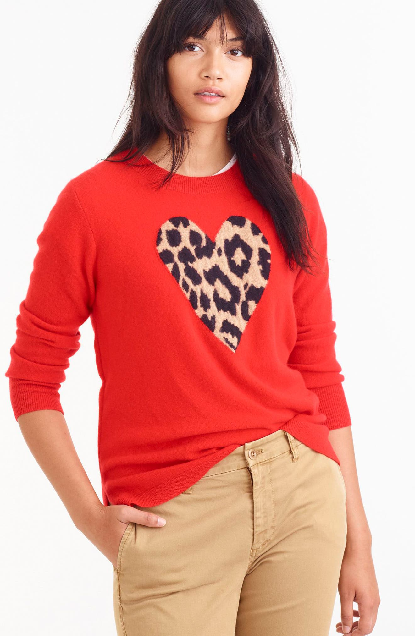 Leopard Heart Everyday Cashmere Sweater,                             Alternate thumbnail 10, color,                             600