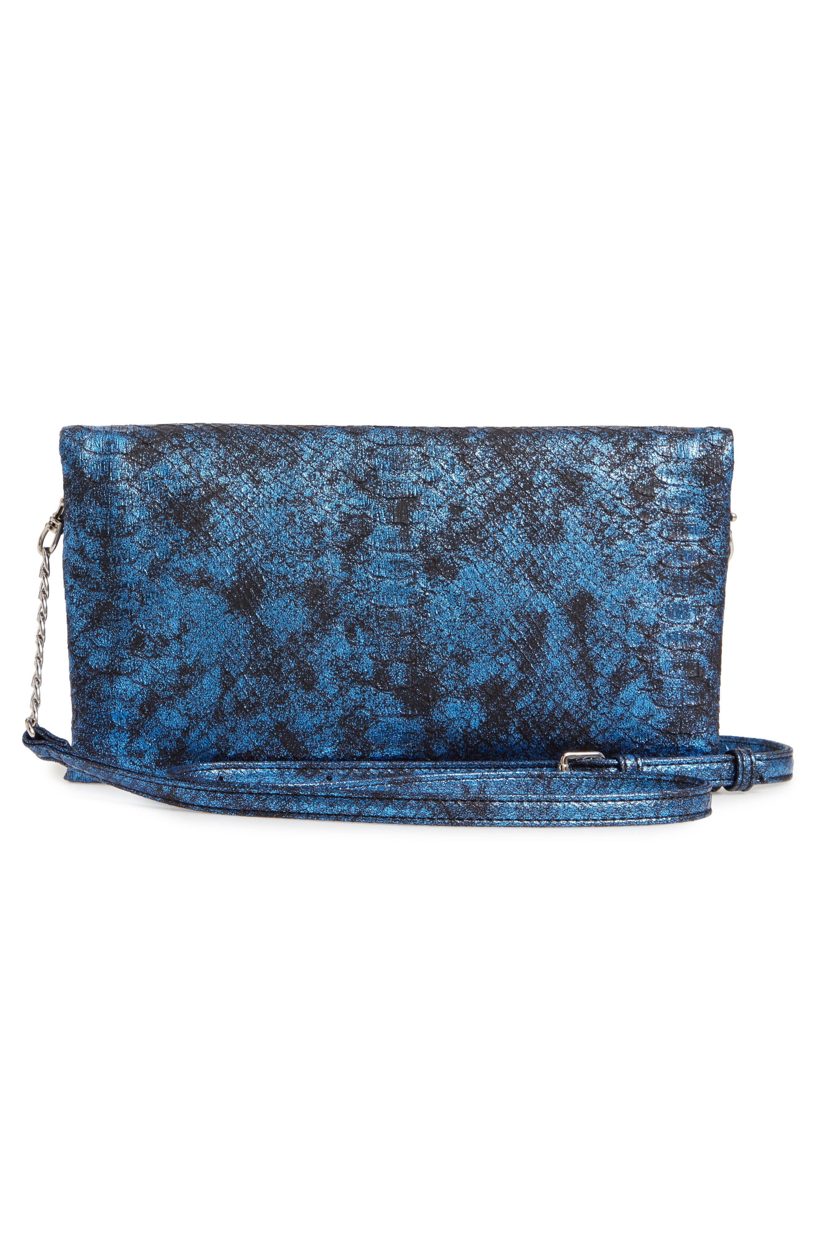 Snake Embossed Faux Leather Clutch,                             Alternate thumbnail 3, color,                             NAVY