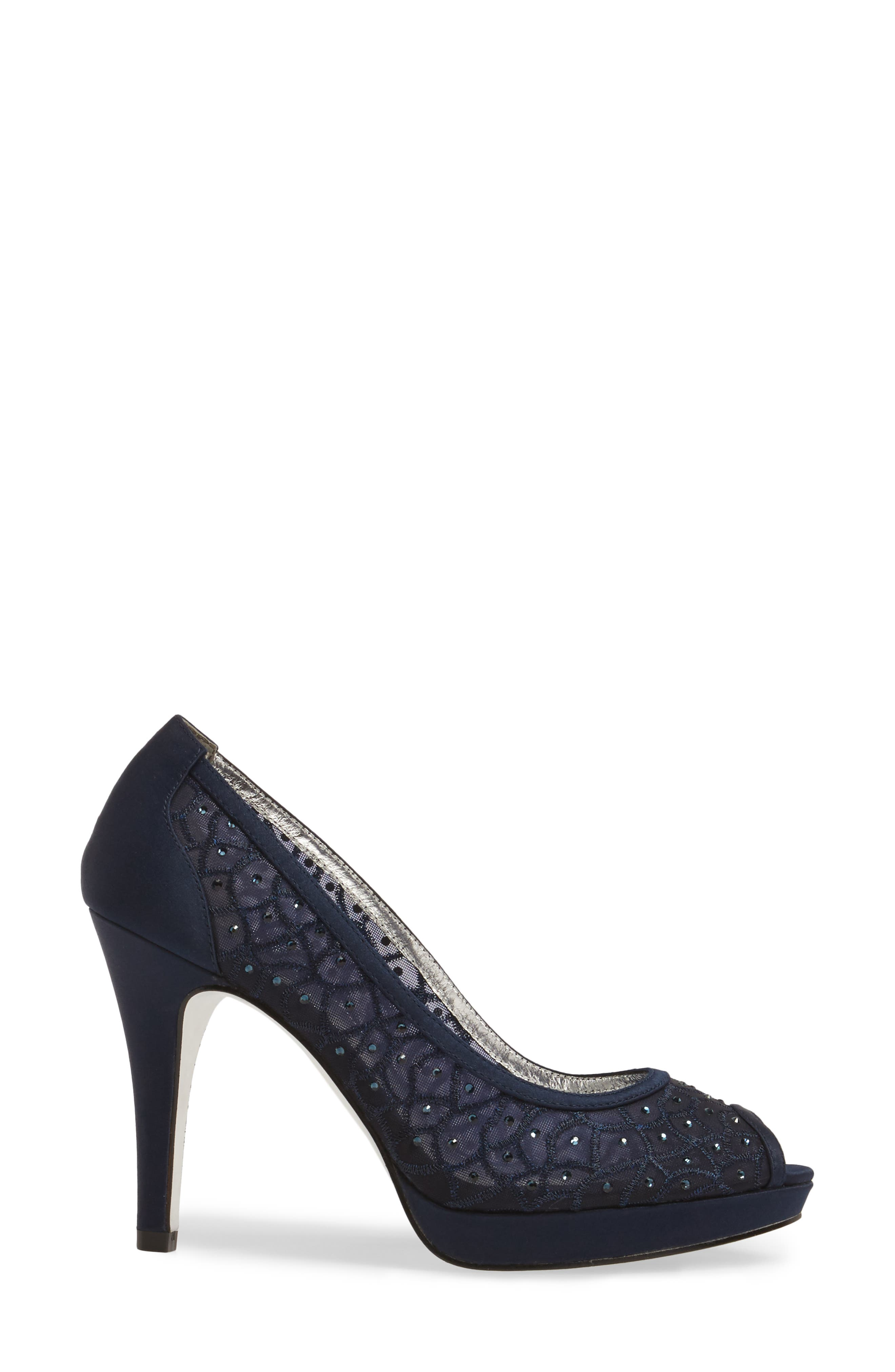 'Foxy' Crystal Embellished Peeptoe Pump,                             Alternate thumbnail 3, color,                             NAVY SATIN