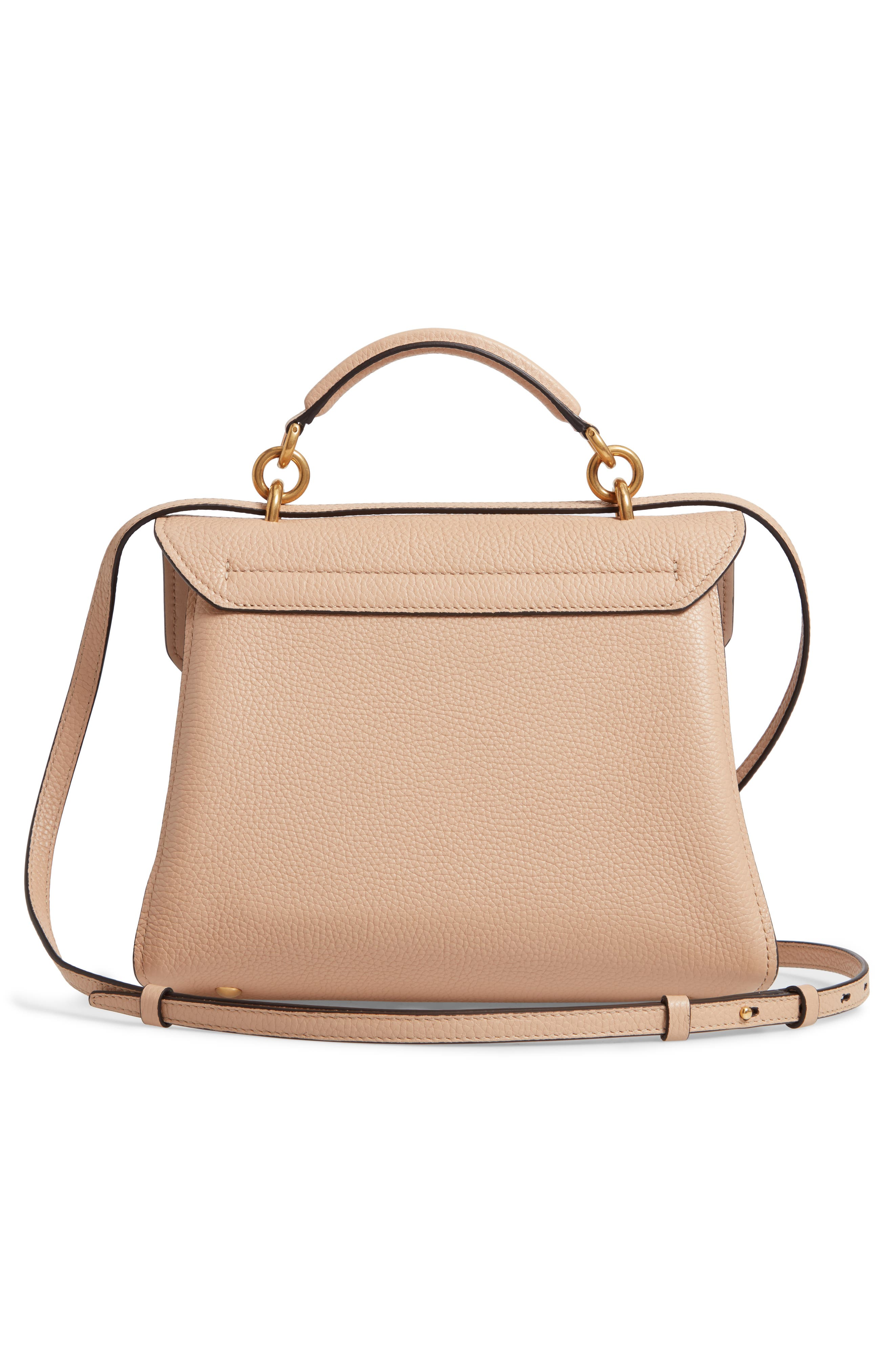 Small Margot Leather Top Handle Bag,                             Alternate thumbnail 3, color,                             ALMOND