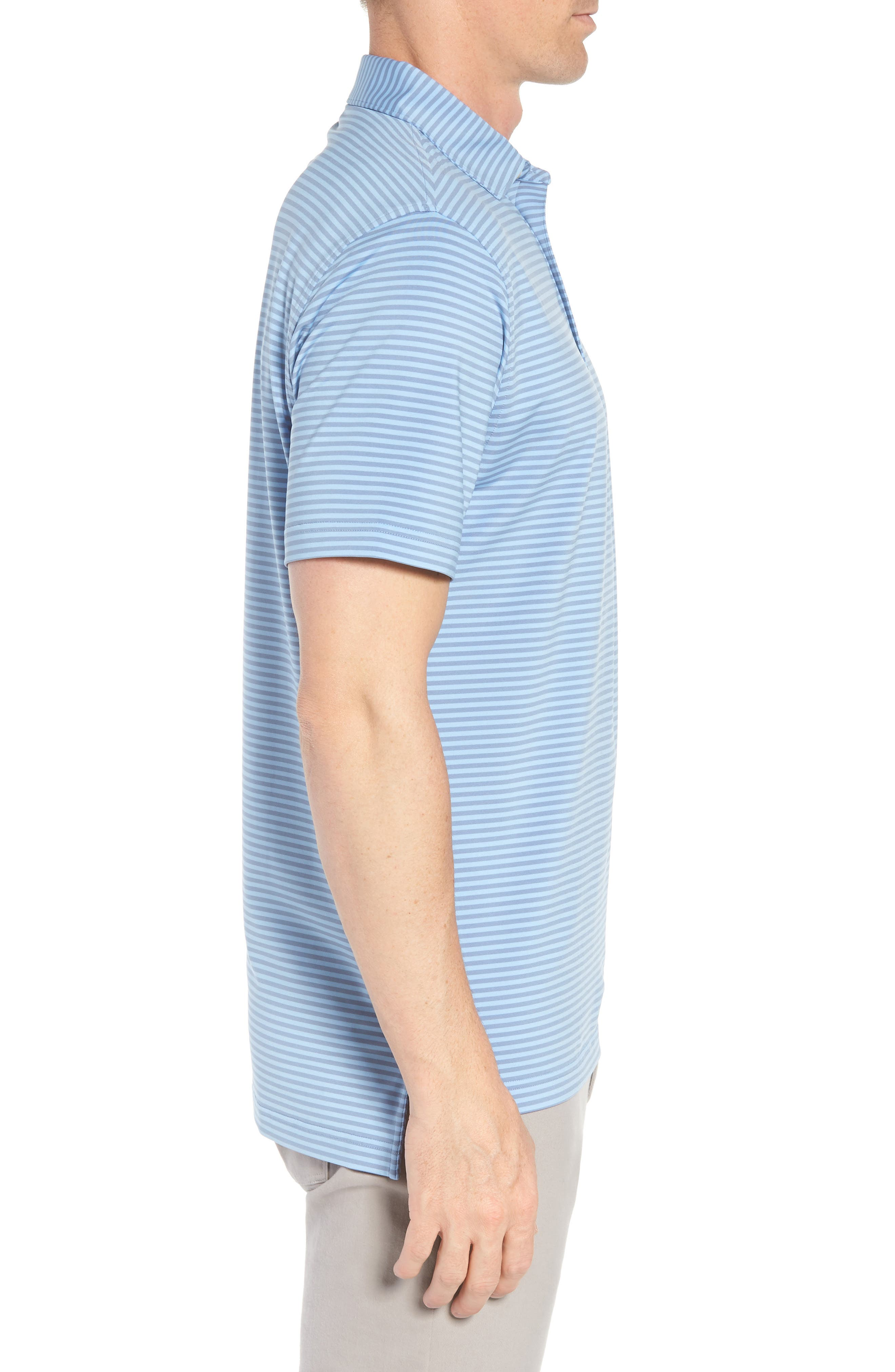 Competition Stripe Stretch Jersey Polo,                             Alternate thumbnail 3, color,                             COTTAGE BLUE