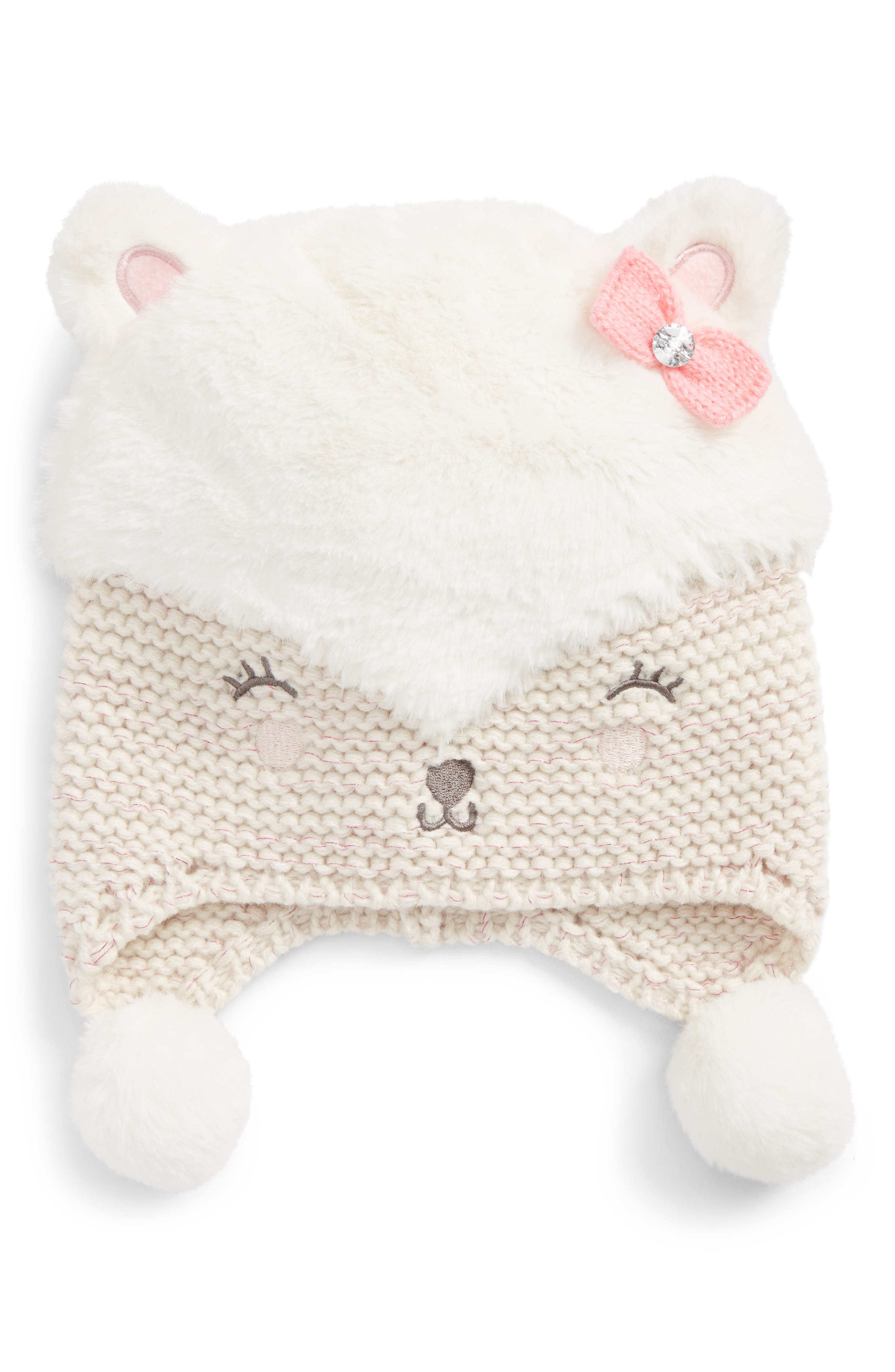 Faux Fur Bear Hat,                             Main thumbnail 1, color,                             900