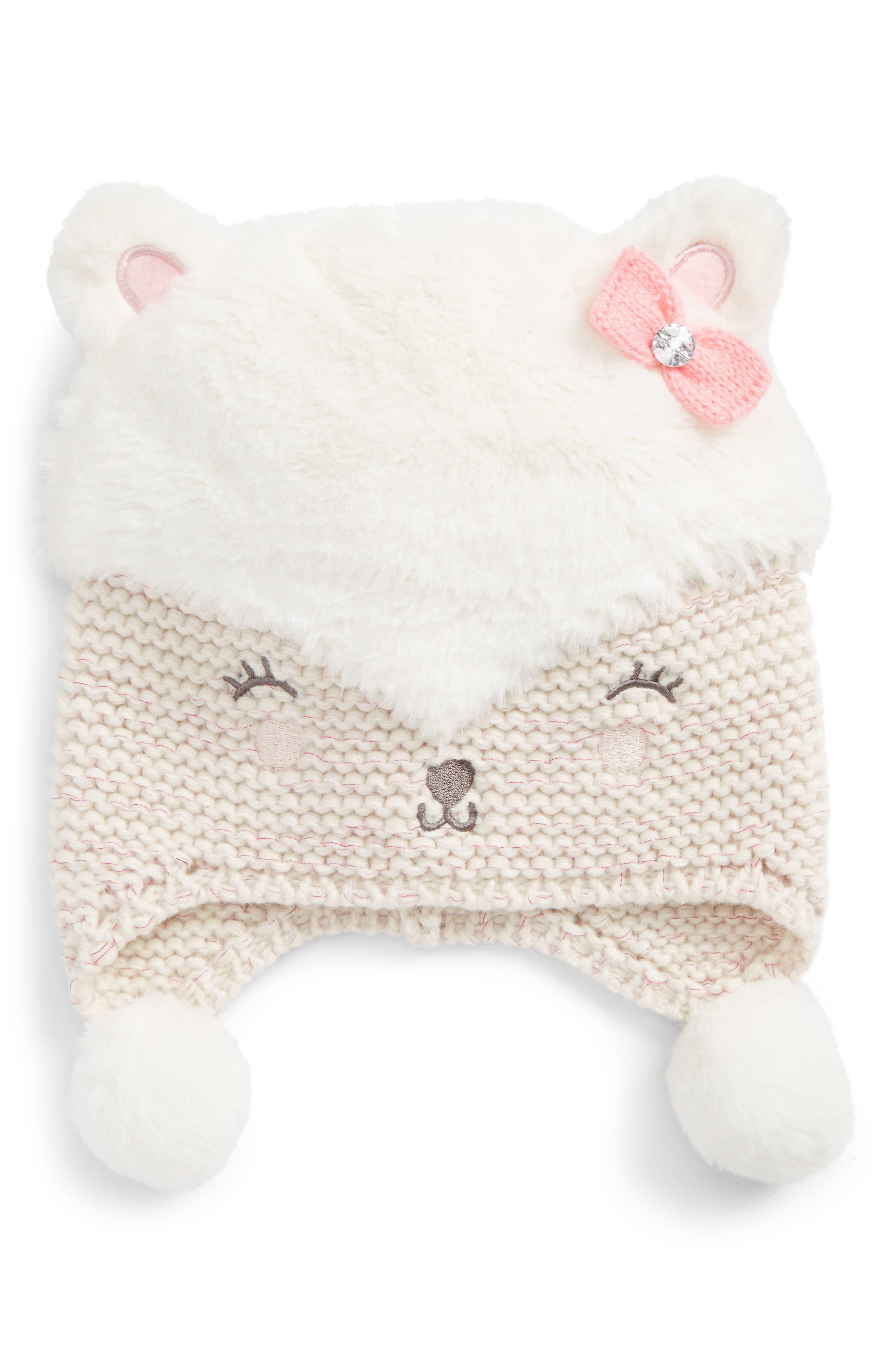 Faux Fur Bear Hat,                         Main,                         color, 900