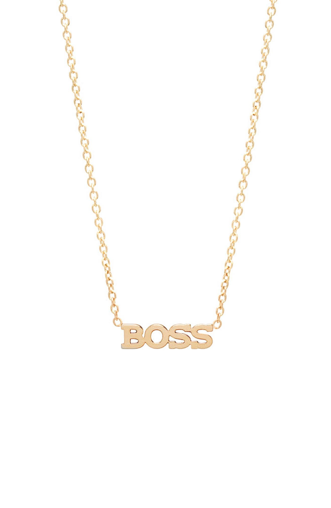 Itty Bitty Typographical Pendant Necklace,                             Main thumbnail 1, color,                             YELLOW GOLD/ GOLD