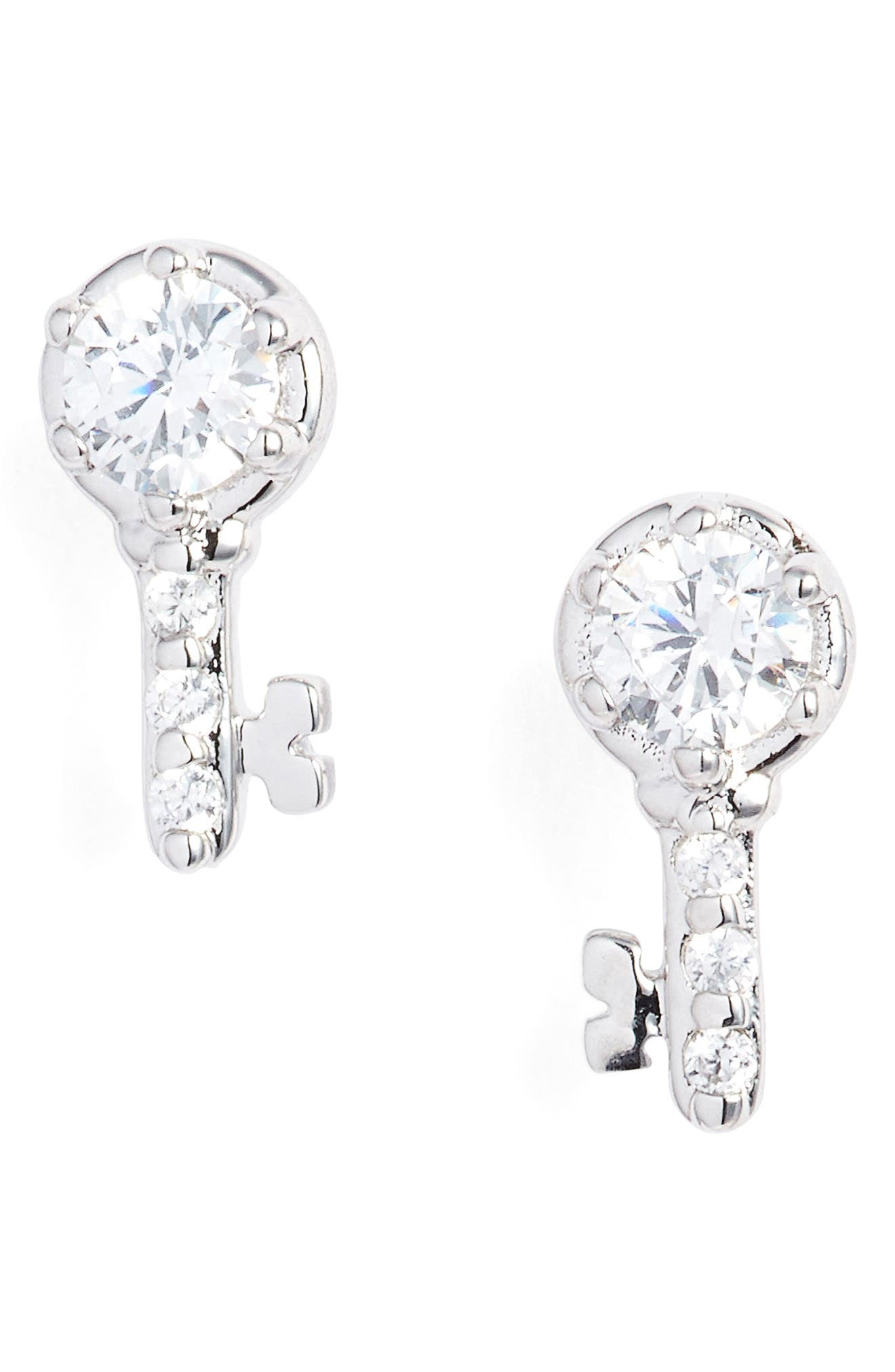 Reminisce Cubic Zirconia Key Stud Earrings,                             Main thumbnail 1, color,