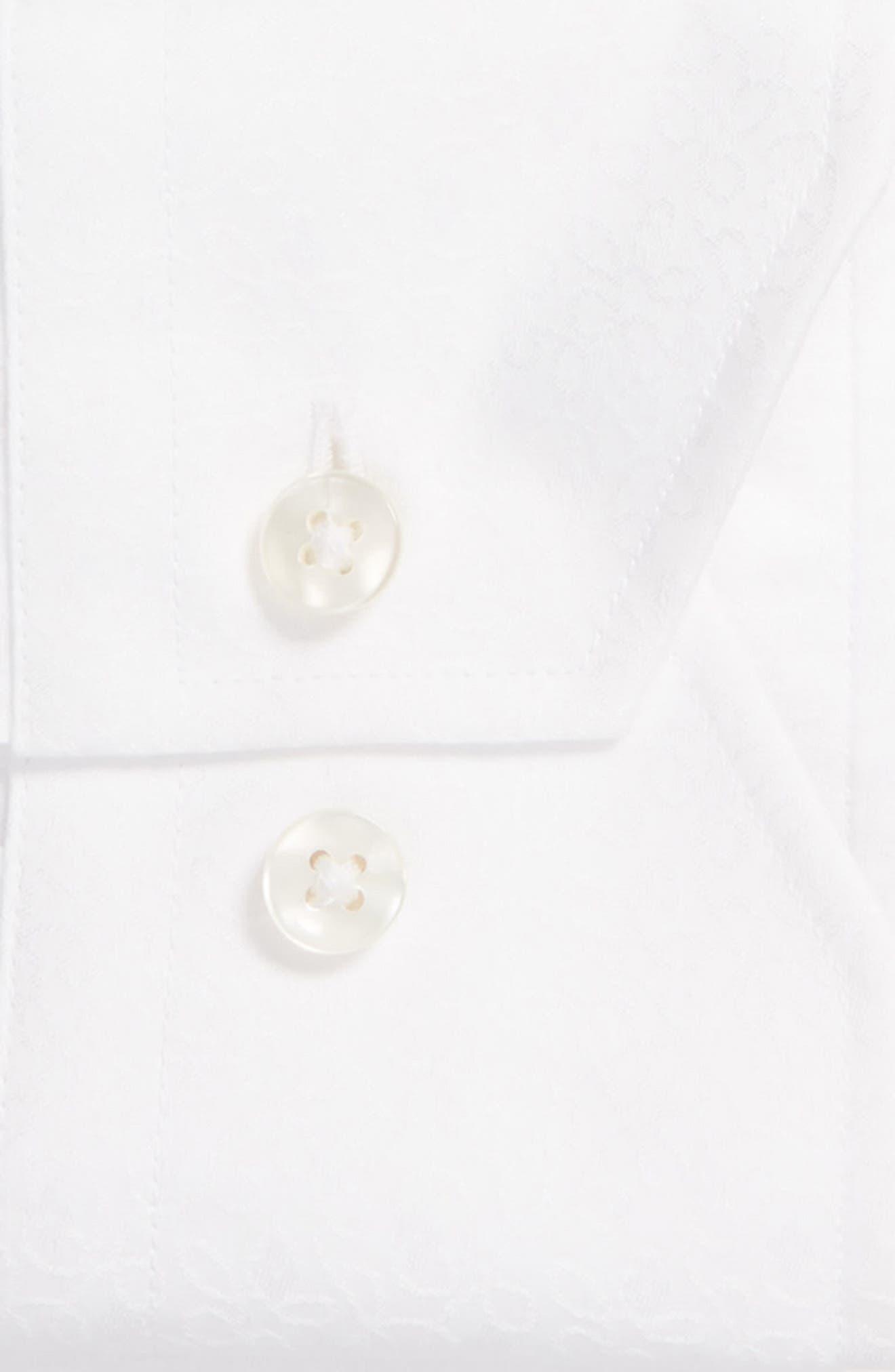 Trim Fit Floral Dress Shirt,                             Alternate thumbnail 6, color,                             100