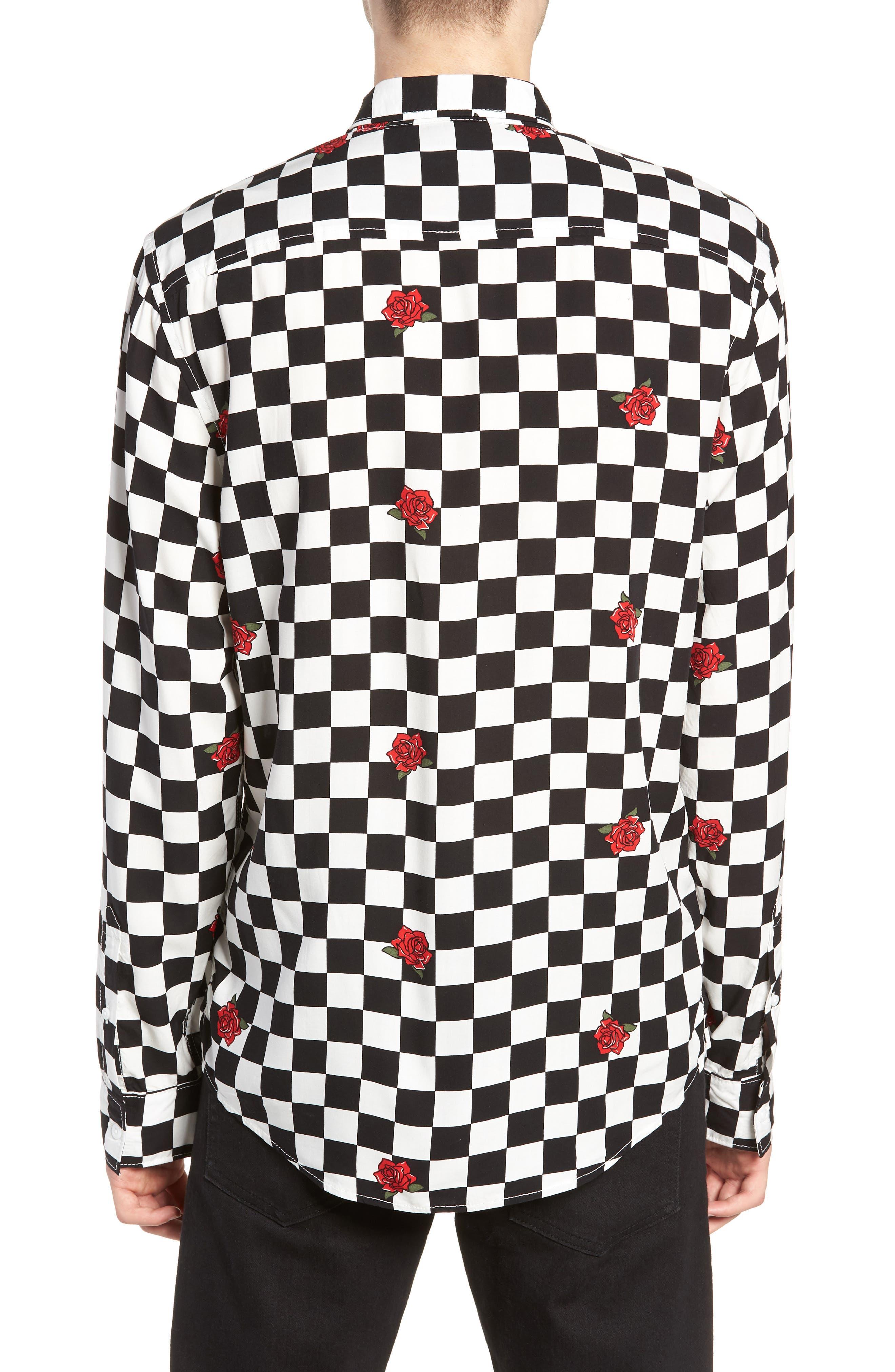 Checkerboard Rose Print Woven Shirt,                             Alternate thumbnail 2, color,                             001