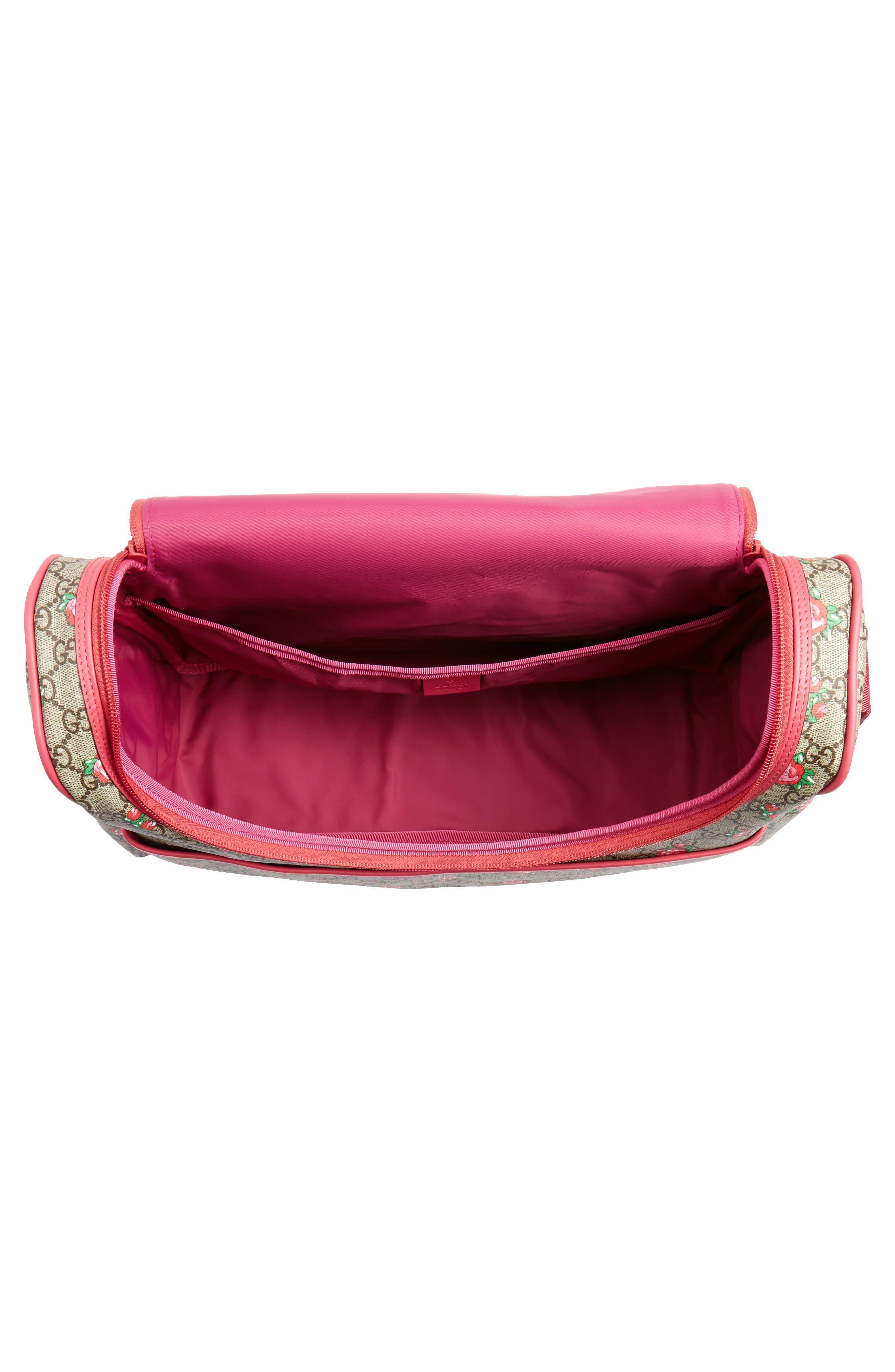 Rose Bud GG Supreme Diaper Bag,                             Alternate thumbnail 4, color,
