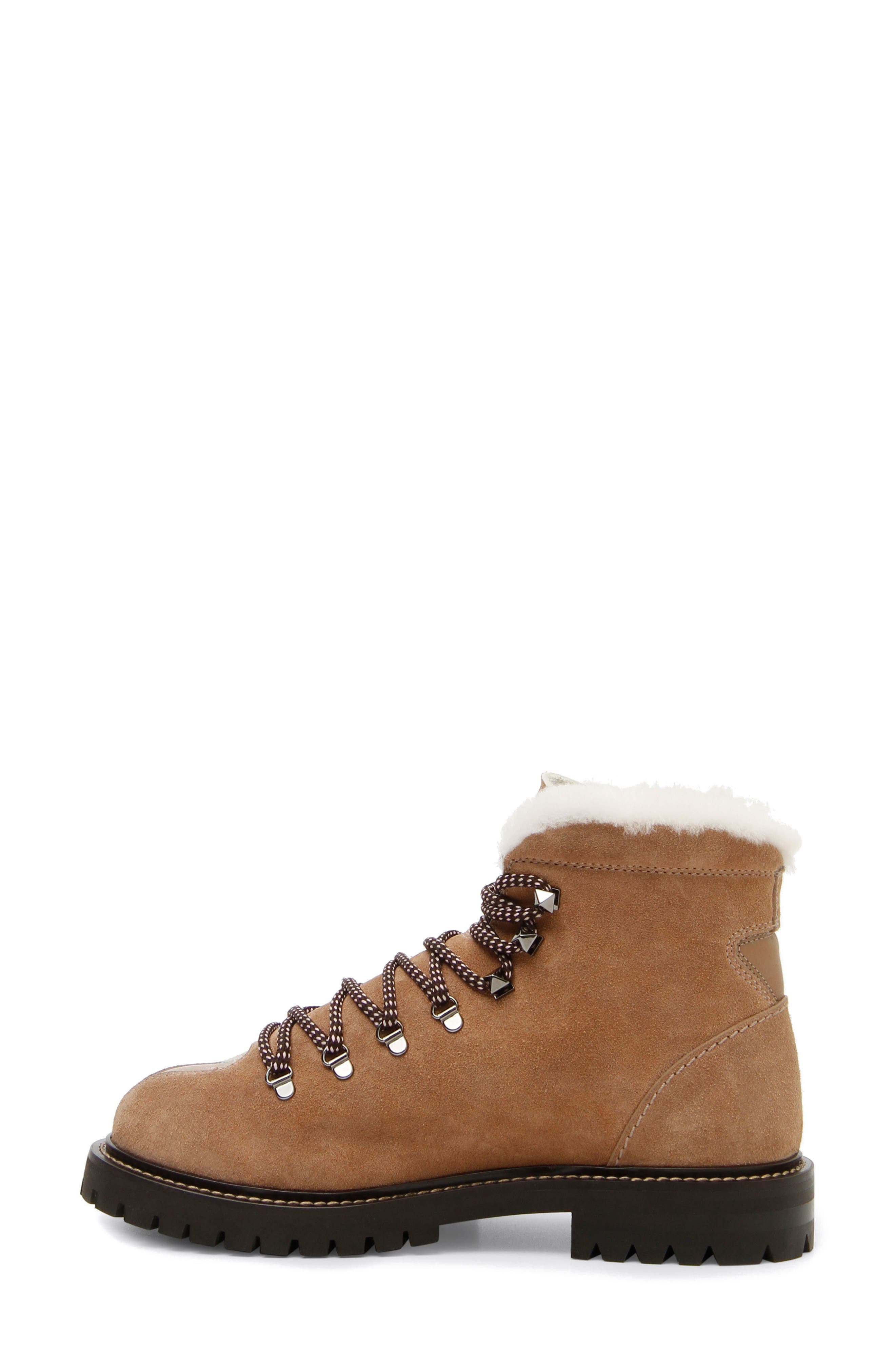 Trekking Combat Boot with Genuine Shearling Trim,                         Main,                         color, 200
