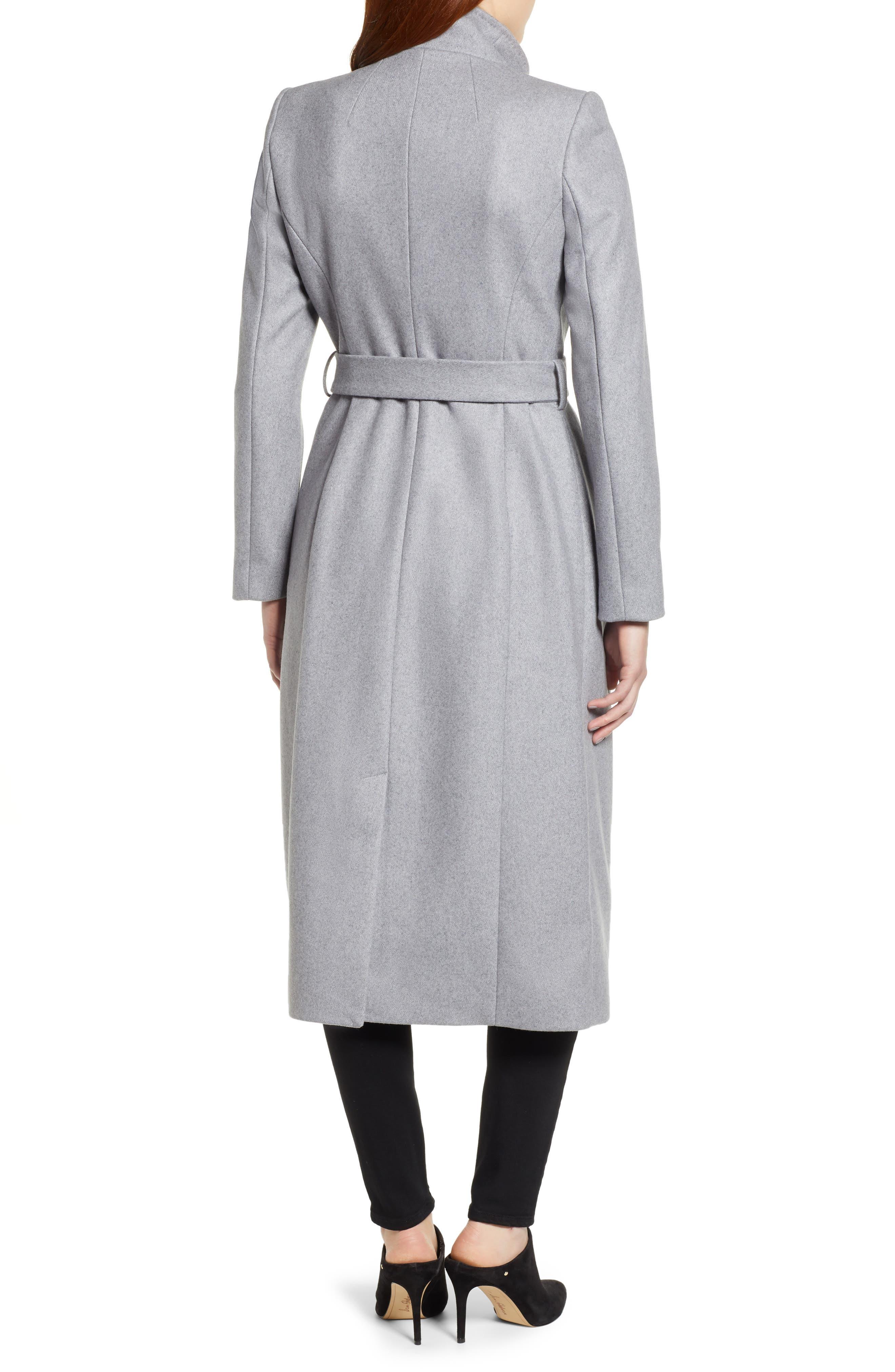 Ted Baker Londer Midi Wool Wrap Coat,                             Alternate thumbnail 2, color,                             GREY