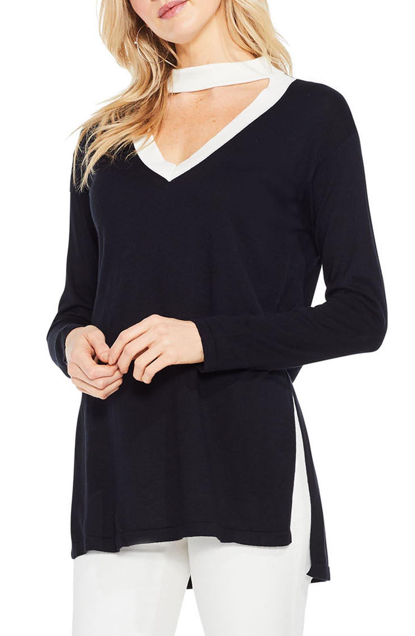 Choker V-Neck Sweater,                         Main,                         color, 002