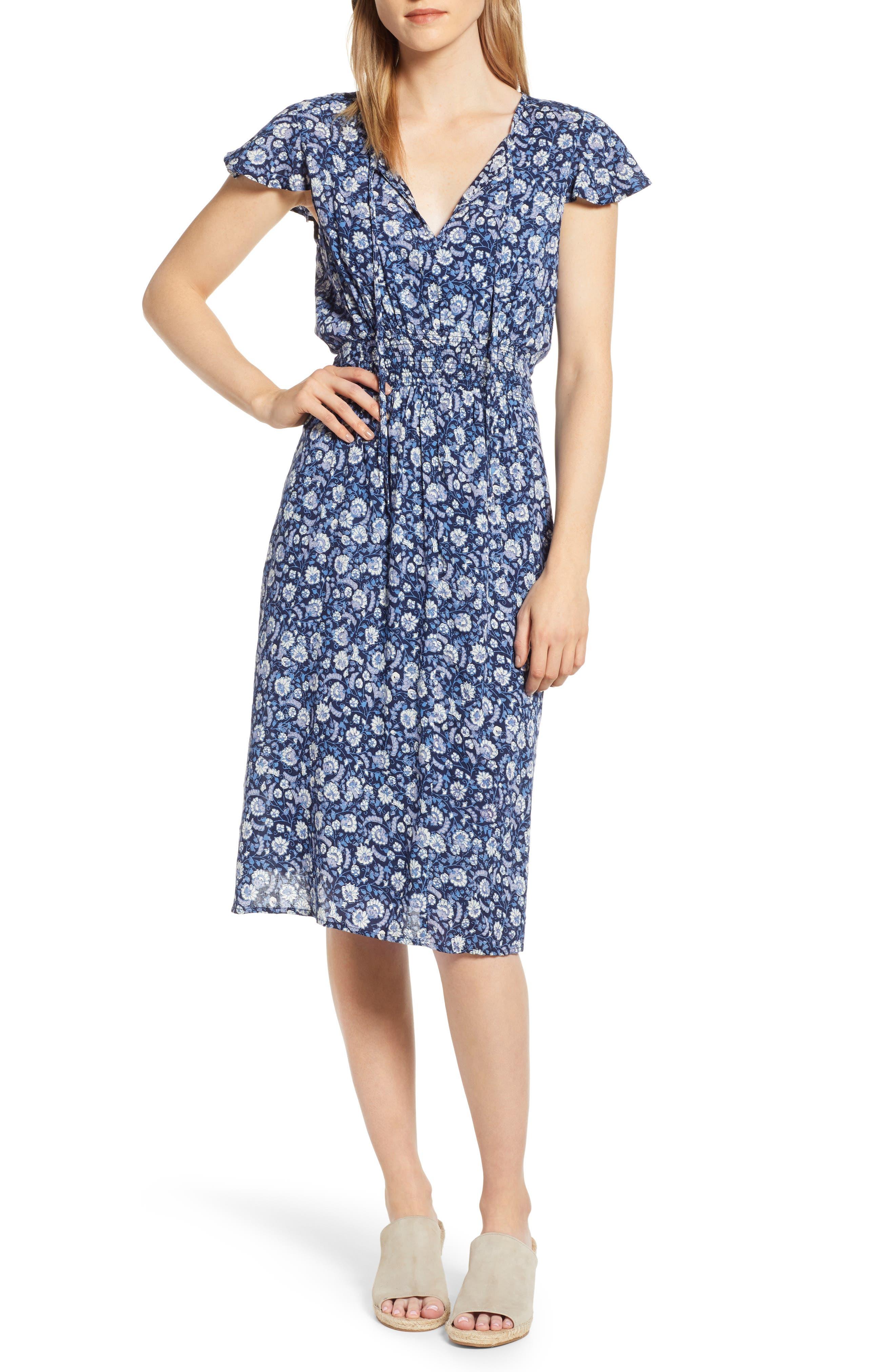 Lucky Brand Olivia Tie Neck Midi Dress, Blue