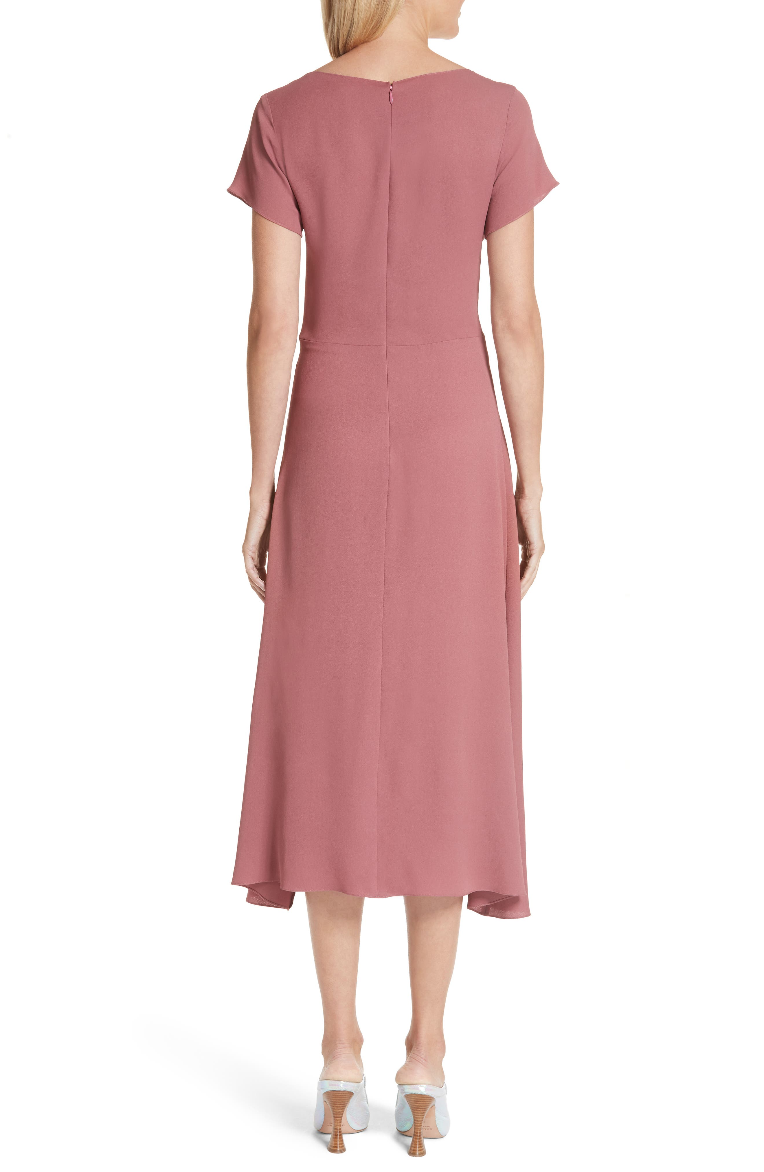 Asymmetrical Fold Bodice Dress,                             Alternate thumbnail 2, color,                             DARK SALMON