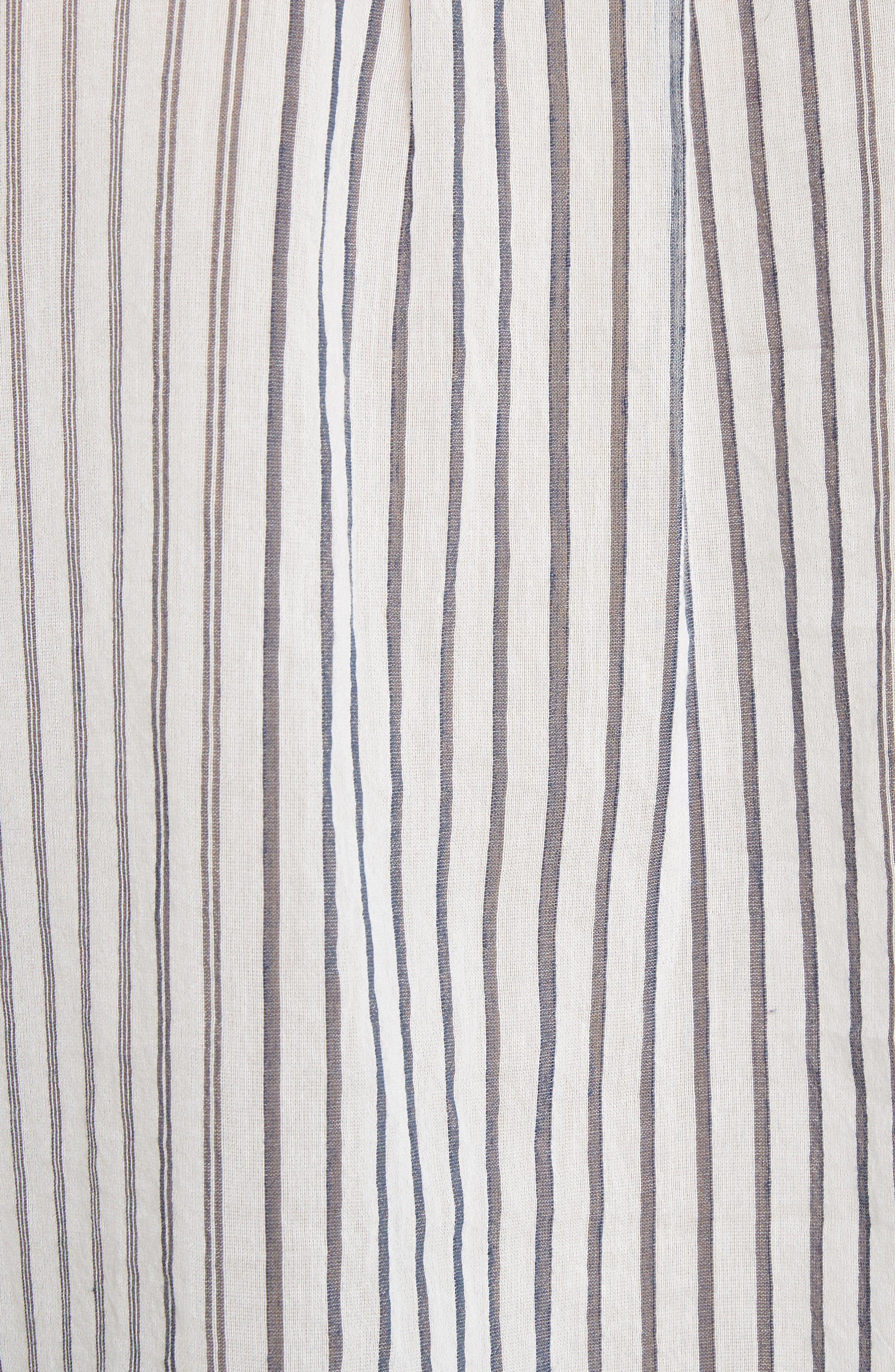 Pencil Stripe Cotton & Silk Tunic,                             Alternate thumbnail 5, color,                             403