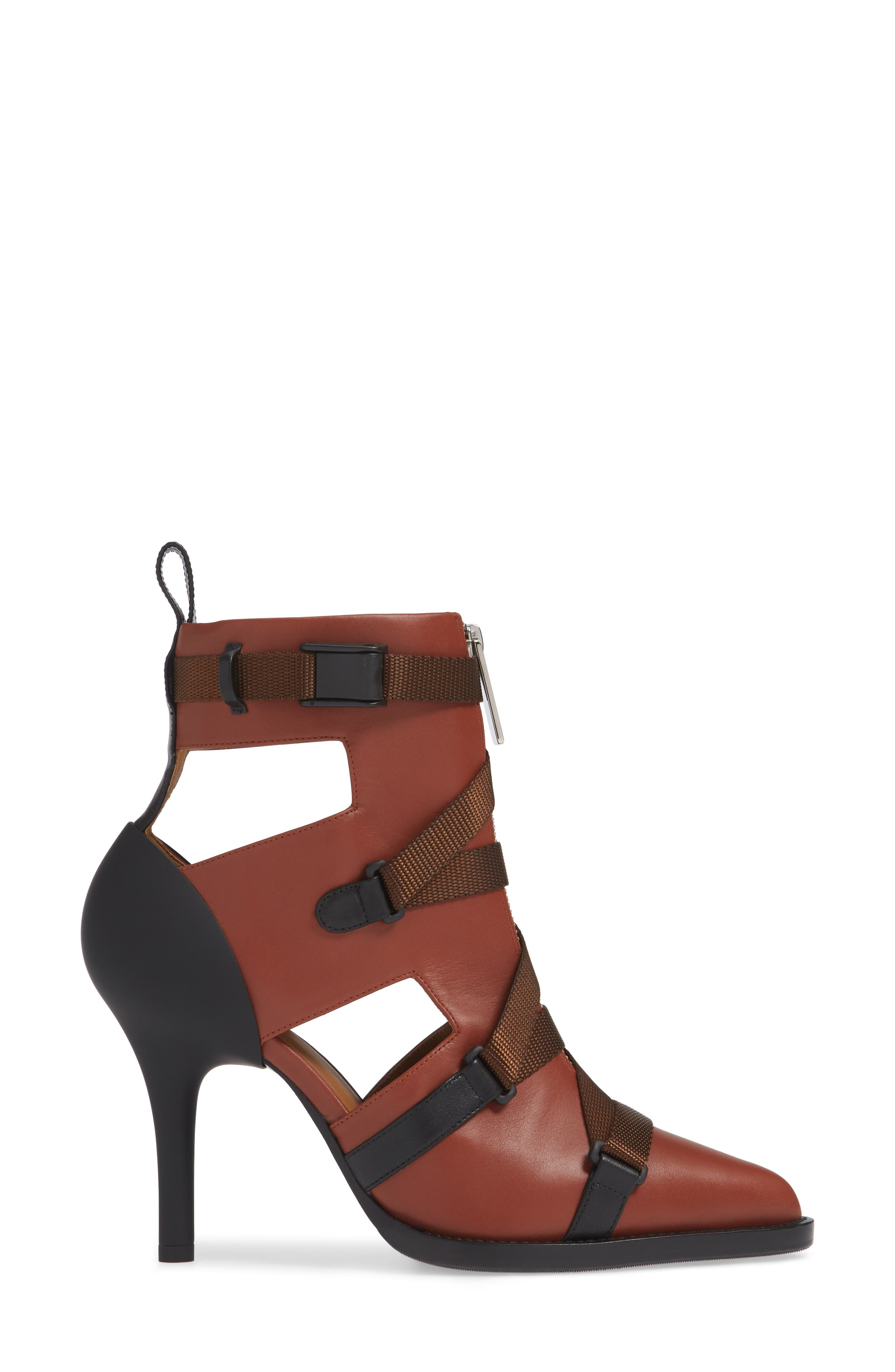 Tracy Strap Cutout Bootie,                             Alternate thumbnail 3, color,                             SEPIA BROWN