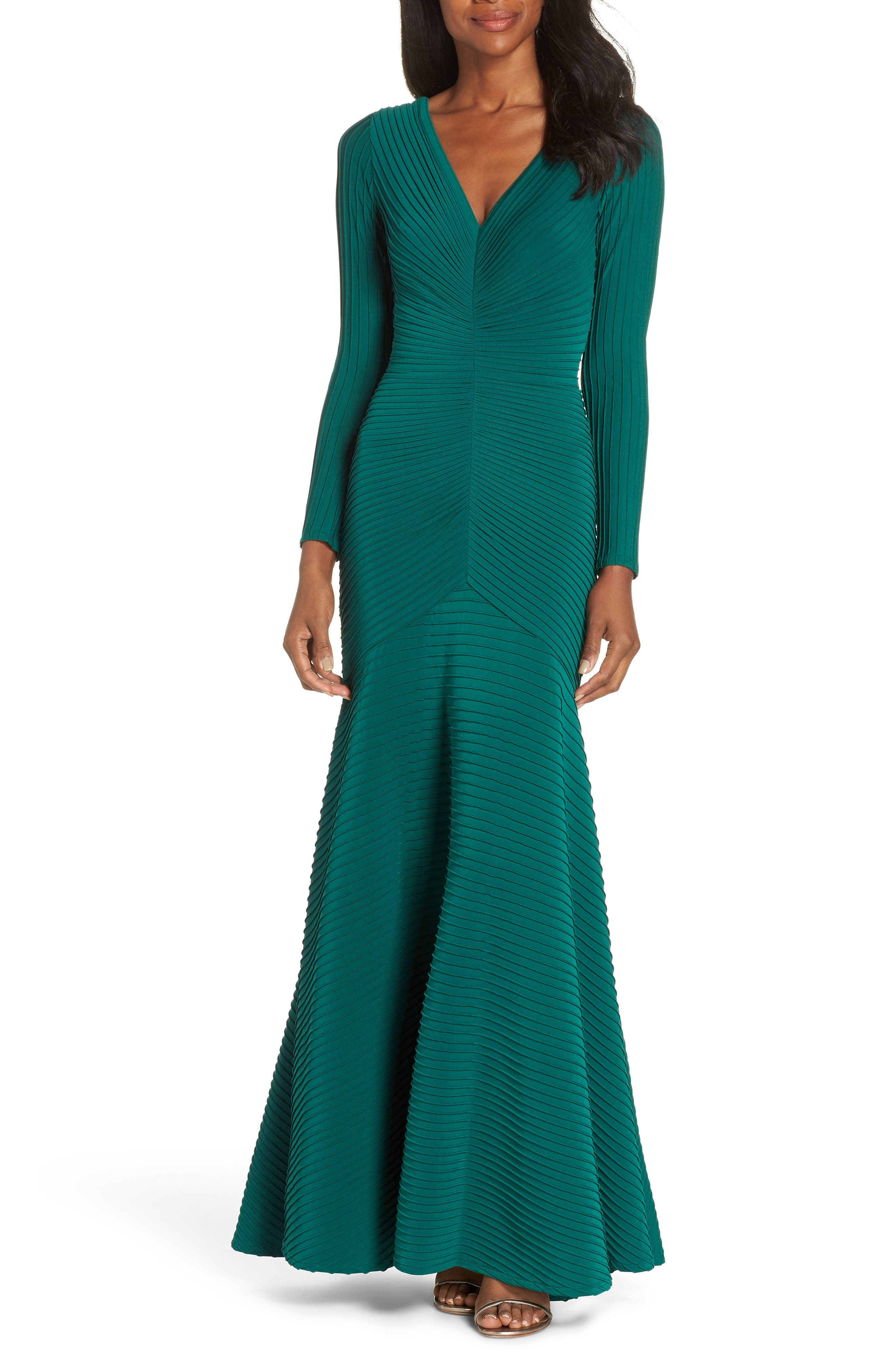TADASHI SHOJI Elias Jersey Pintuck Long-Sleeve Gown in Forest