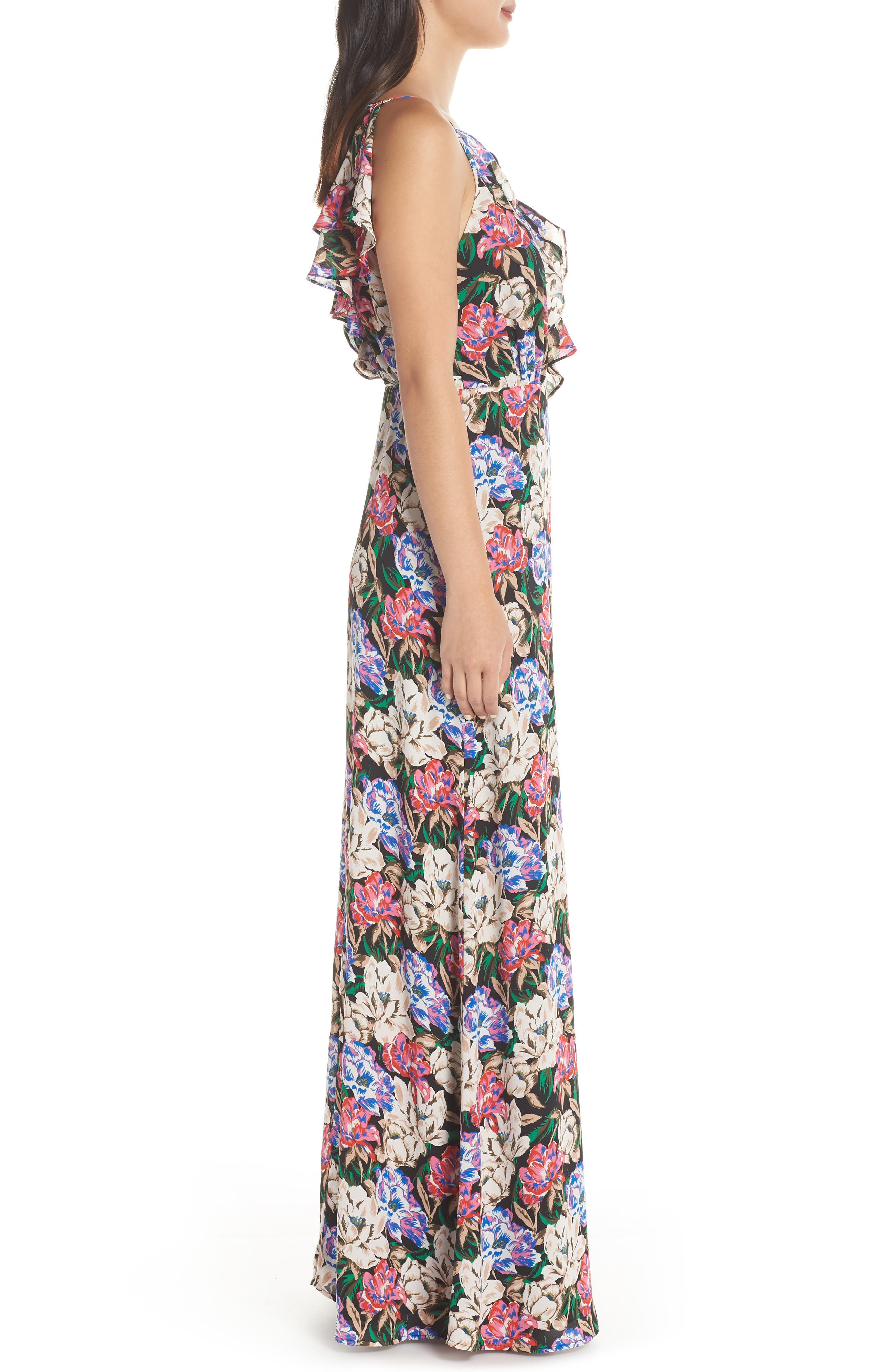 Jamie Ruffle Wrap Gown,                             Alternate thumbnail 3, color,                             MIDNIGHT FLORAL