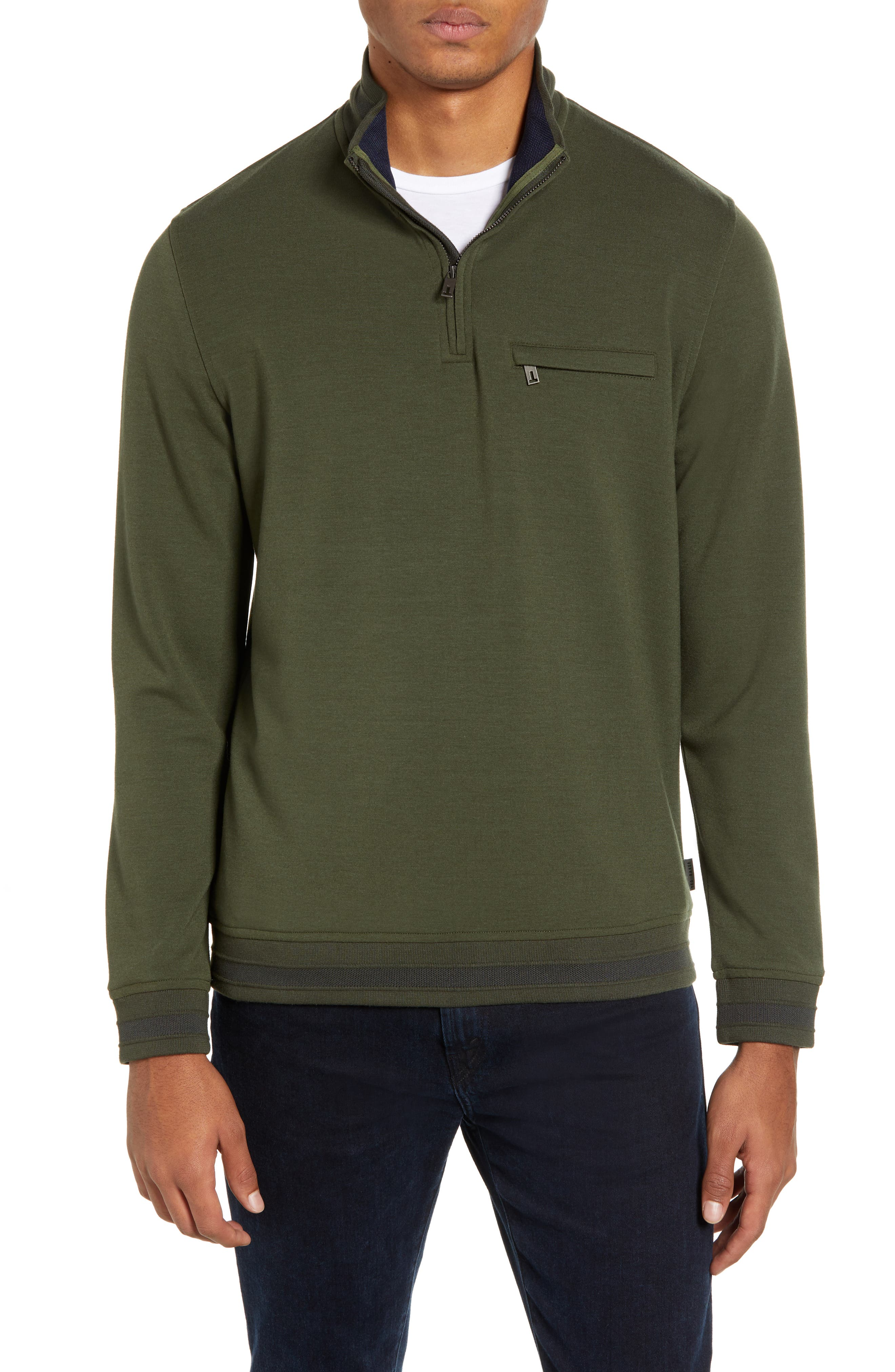 Leevit Quarter Zip Pullover,                             Main thumbnail 1, color,                             KHAKI