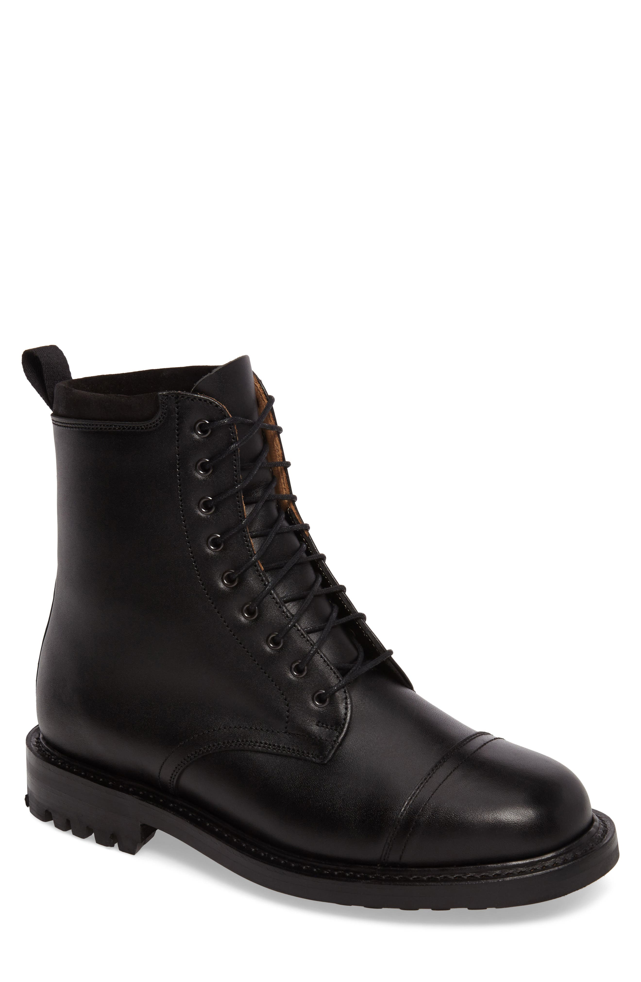 CLARKS<SUP>®</SUP>,                             Clarks Craftsmaster III Cap Toe Boot,                             Main thumbnail 1, color,                             BLACK LEATHER
