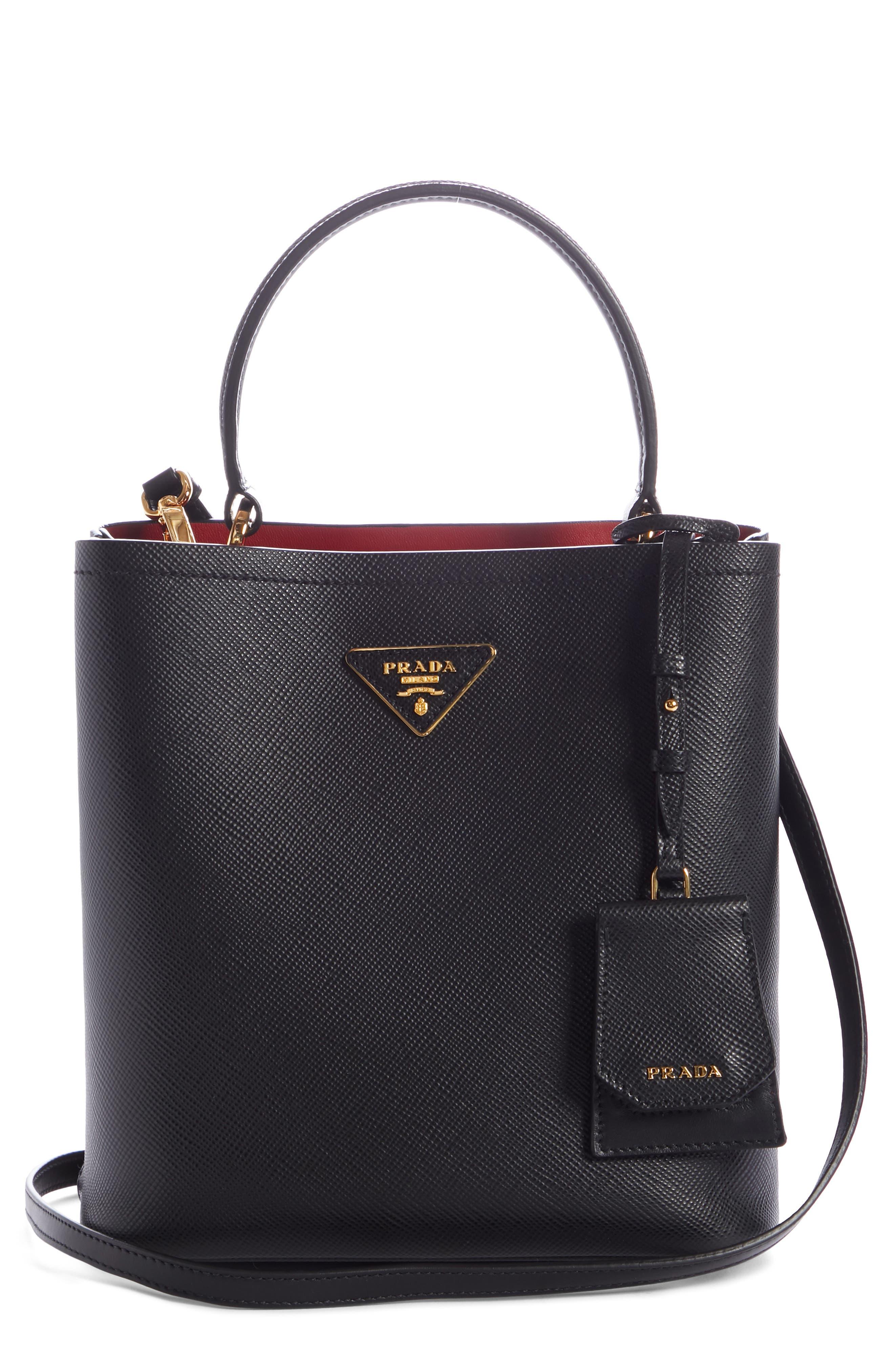 Small Saffiano Leather Bucket Bag,                             Main thumbnail 1, color,                             NERO/ FUOCO