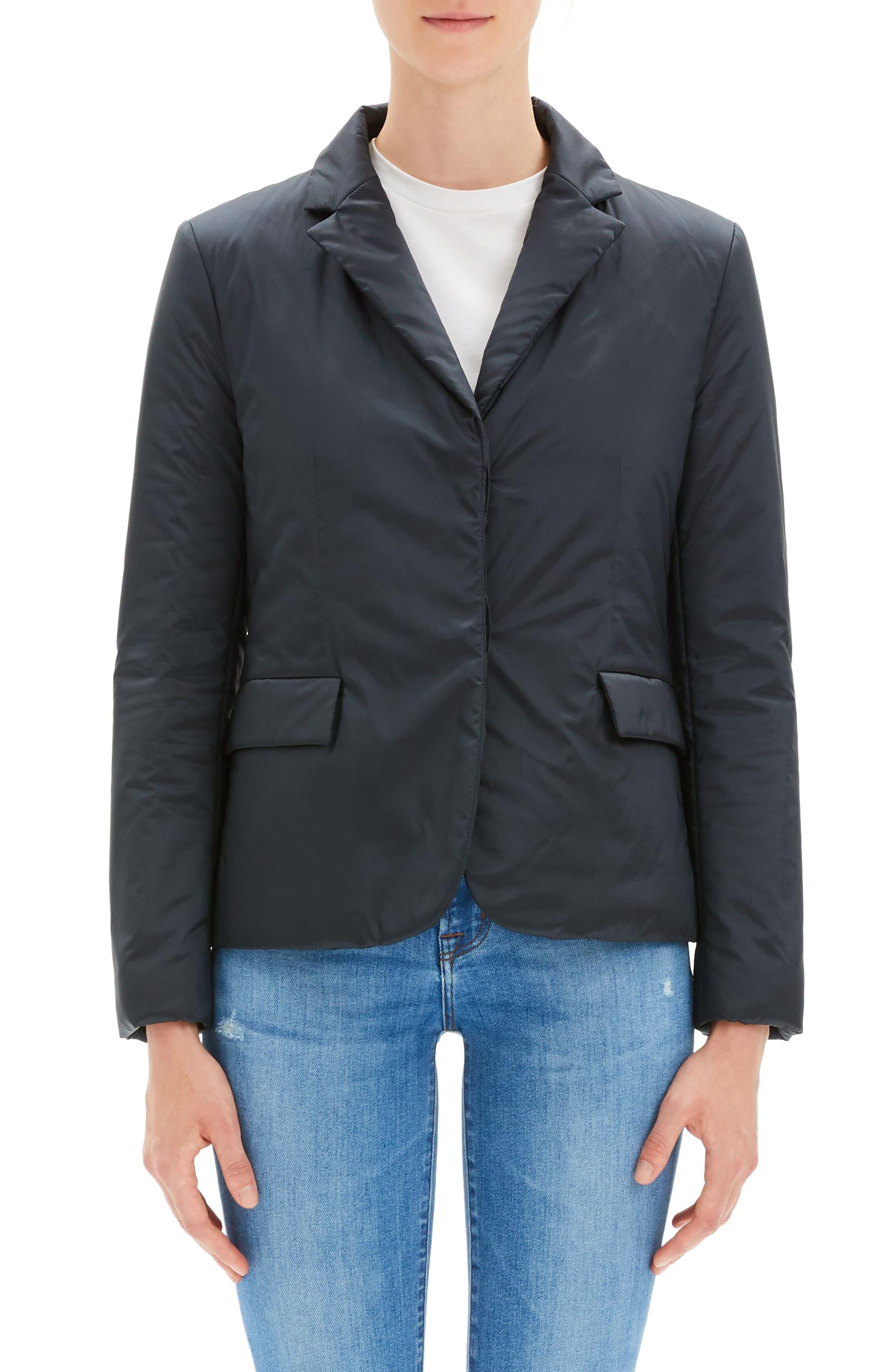 Button-Front Blazer Puffer Jacket in Pale Navy