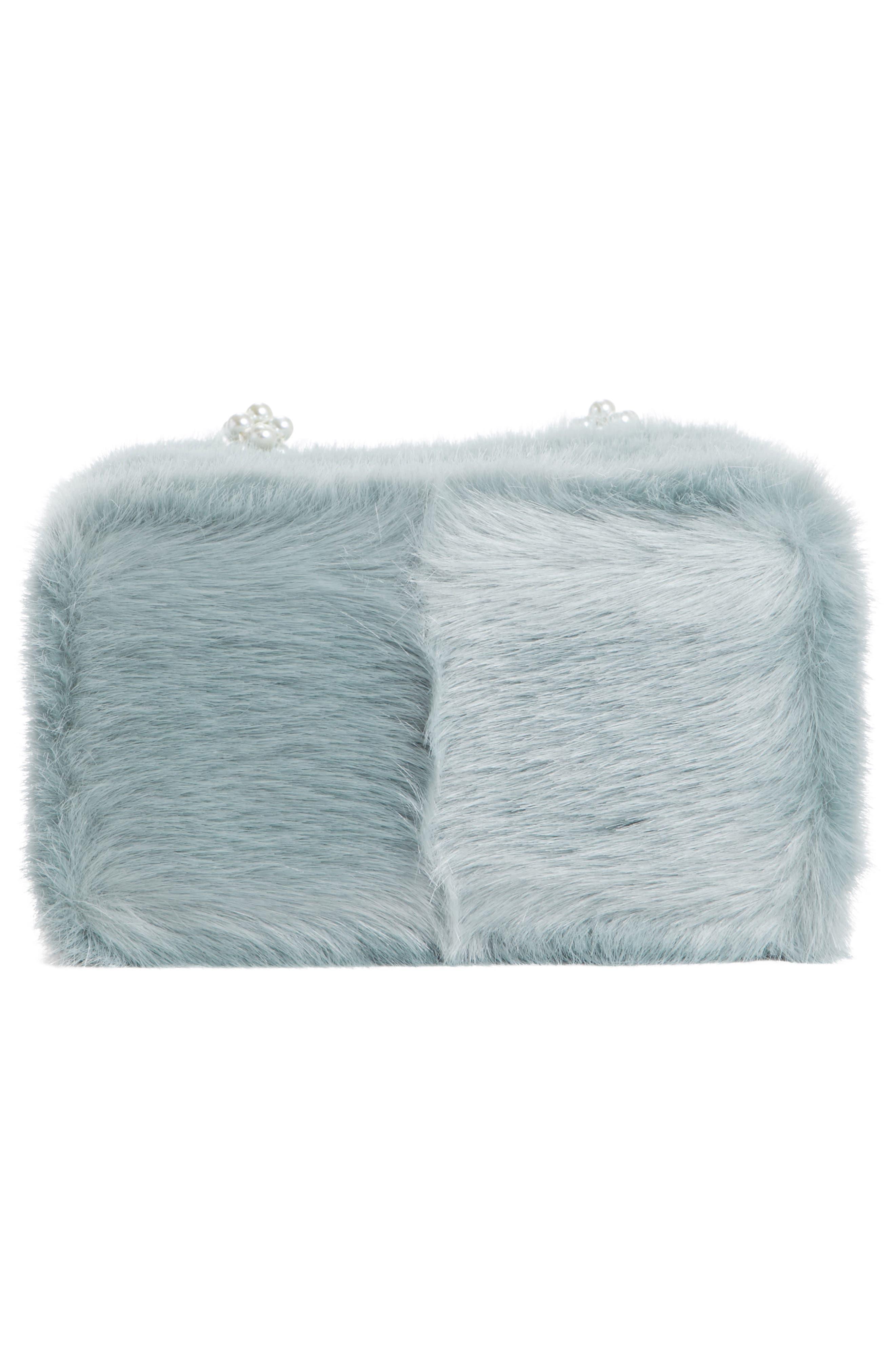 Una Check Faux Fur Bag with Imitation Pearl Handles,                             Alternate thumbnail 6, color,                             440