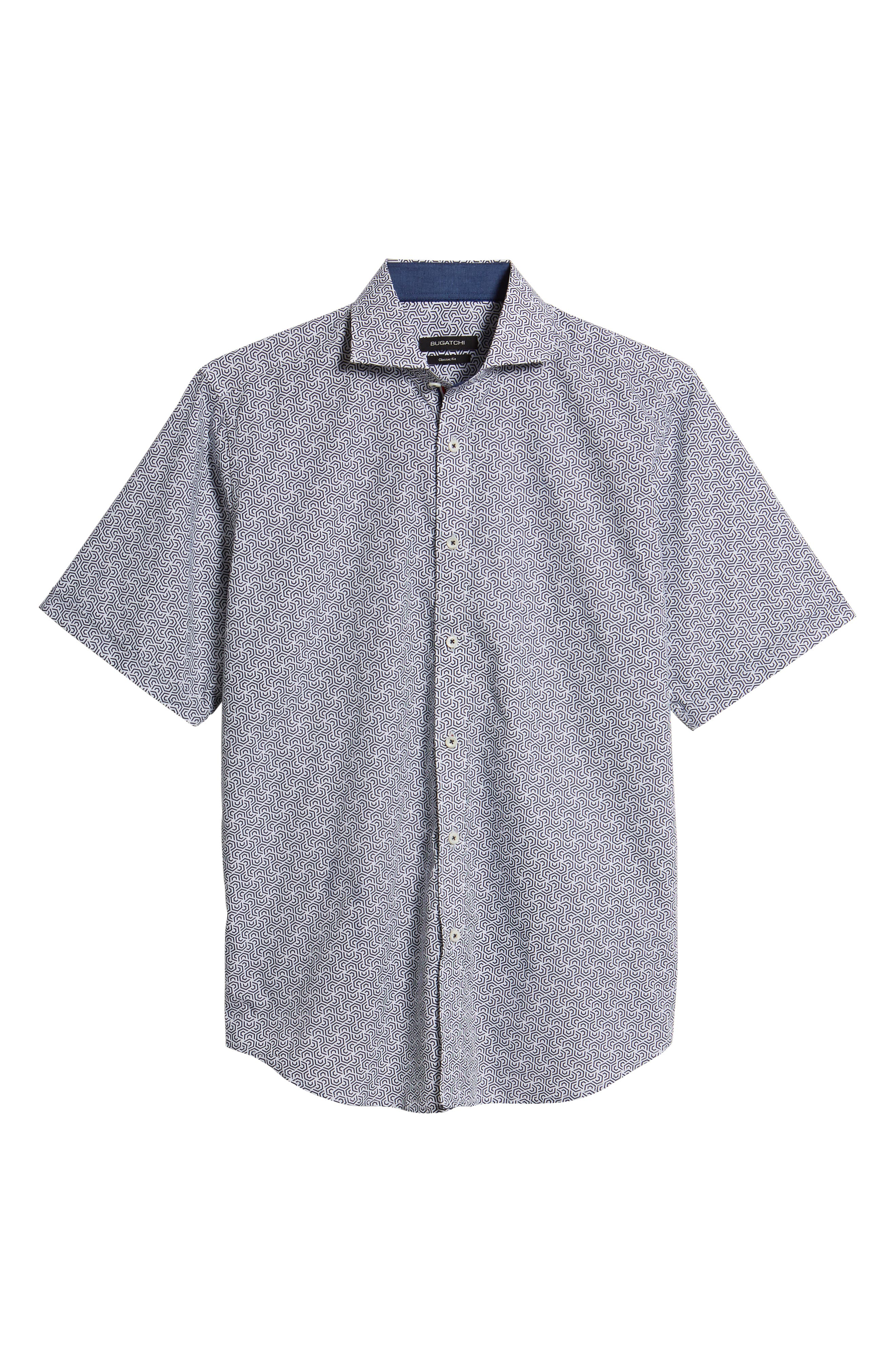 Classic Fit Maze Print Sport Shirt,                             Alternate thumbnail 5, color,                             NAVY