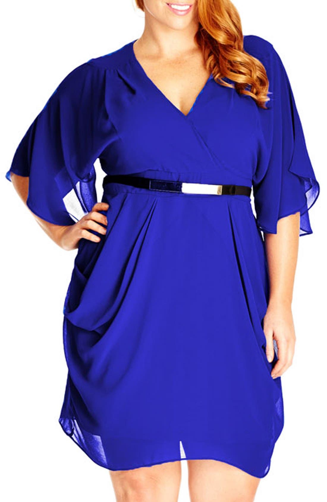 'Colour Wrap' Surplice Dress,                             Main thumbnail 1, color,                             ULTRA BLUE