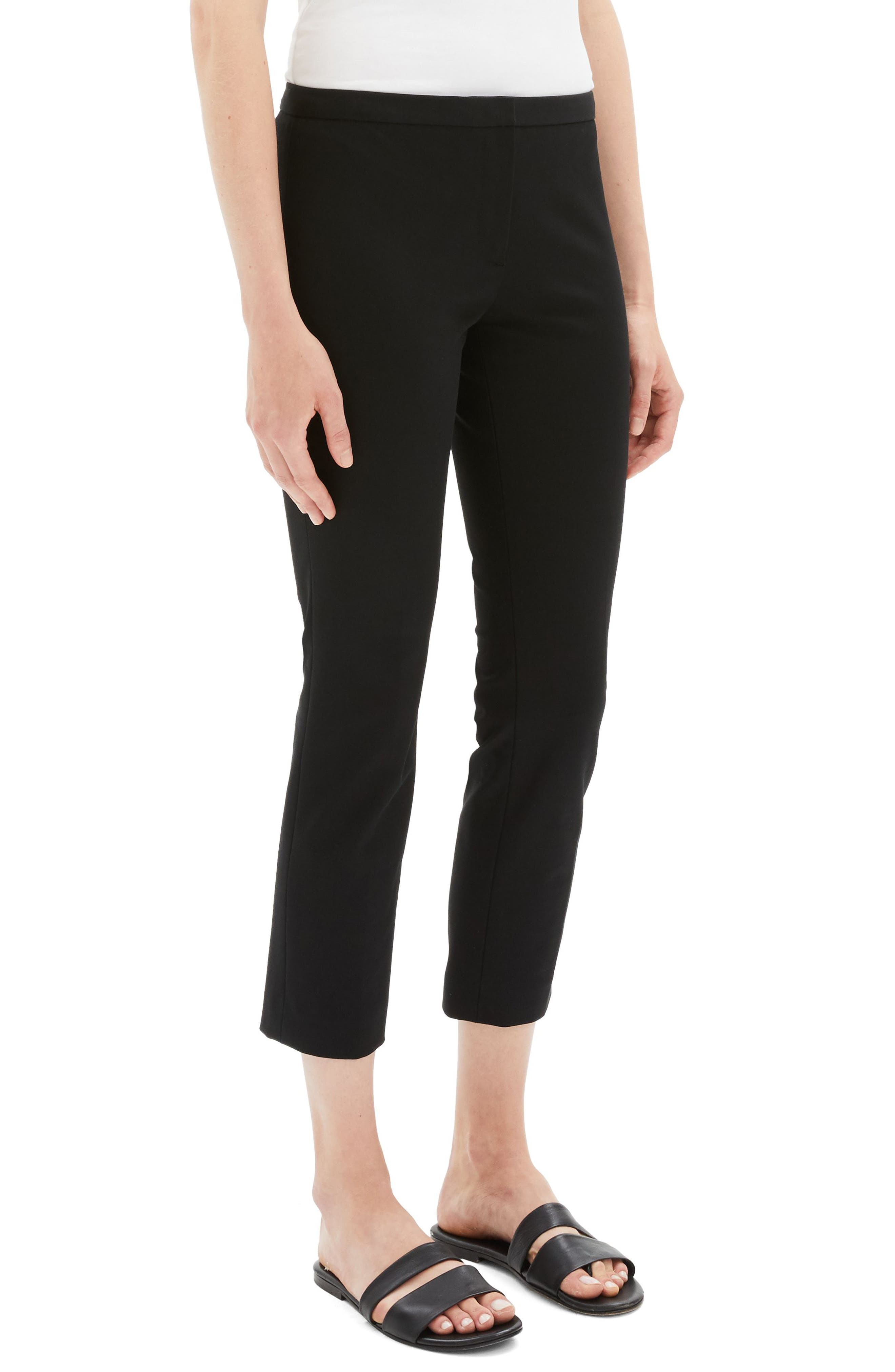 Classic Stretch Cotton Skinny Pants,                             Alternate thumbnail 3, color,                             BLACK