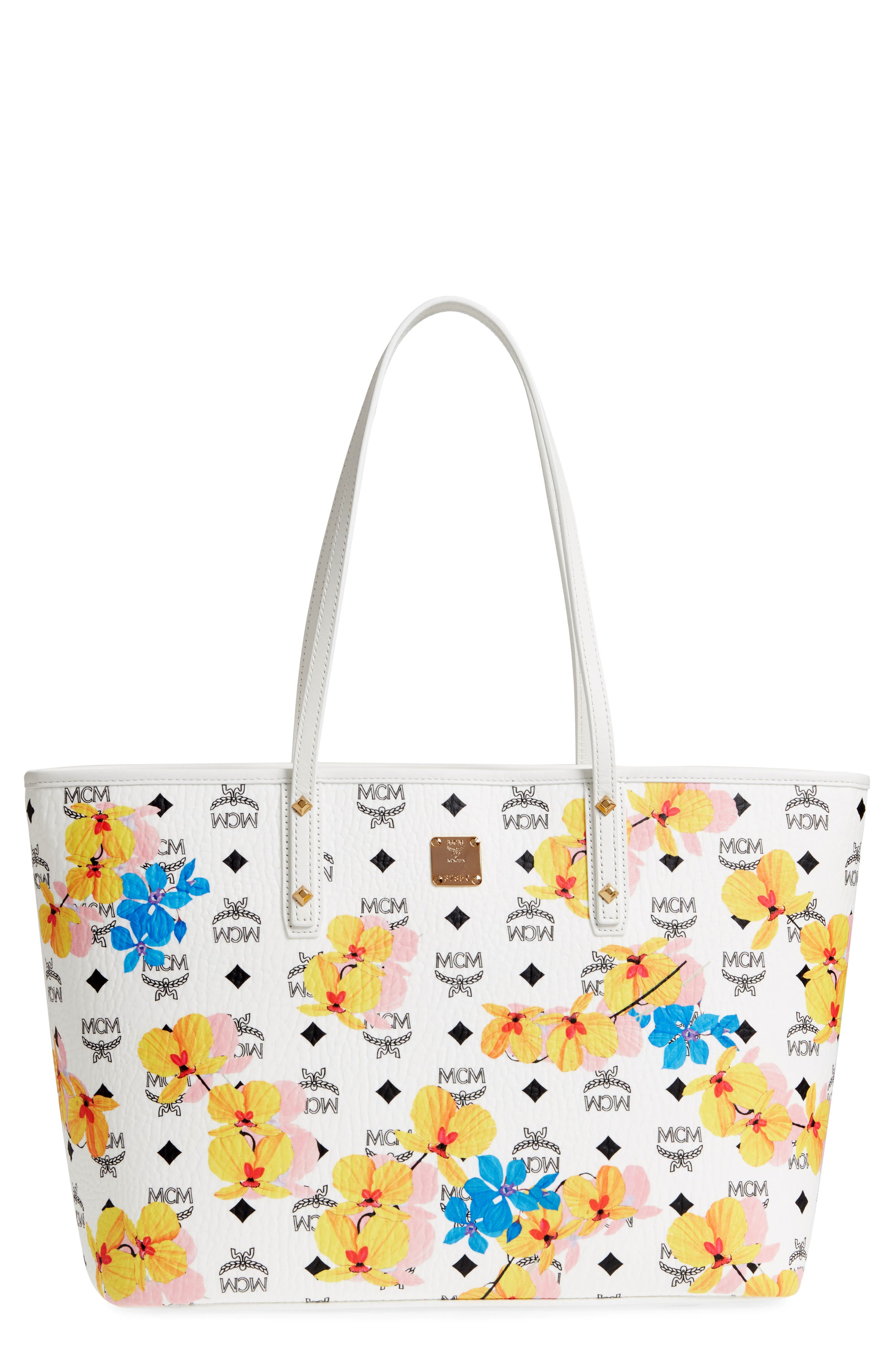 MCM,                             Essentials Floral Print Coated Canvas Shopper,                             Main thumbnail 1, color,                             100
