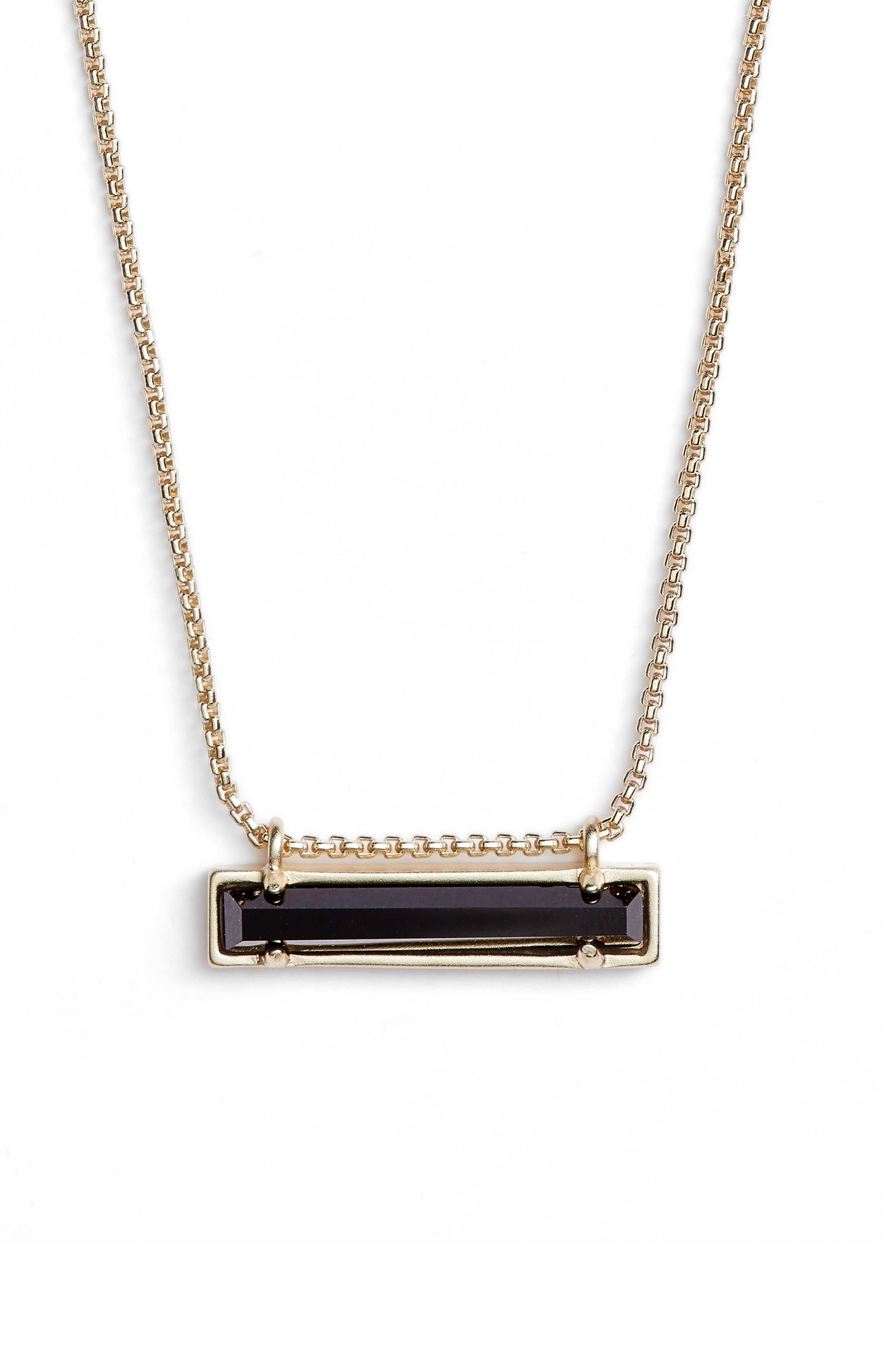 Leanor Pendant Necklace,                         Main,                         color, BLACK GLASS/ GOLD
