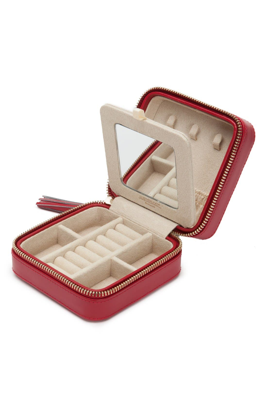 'Caroline' Travel Jewelry Case,                             Alternate thumbnail 3, color,                             RED