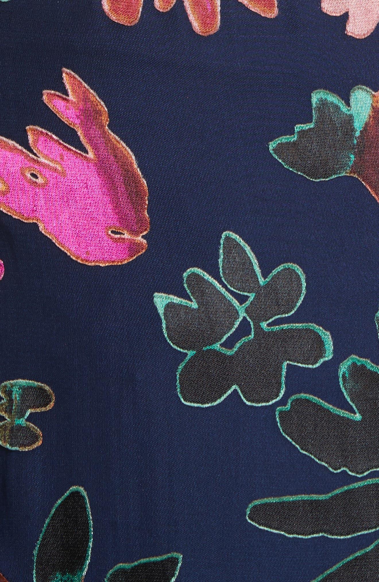 Amos Floral Burnout Velvet Tunic,                             Alternate thumbnail 5, color,                             471