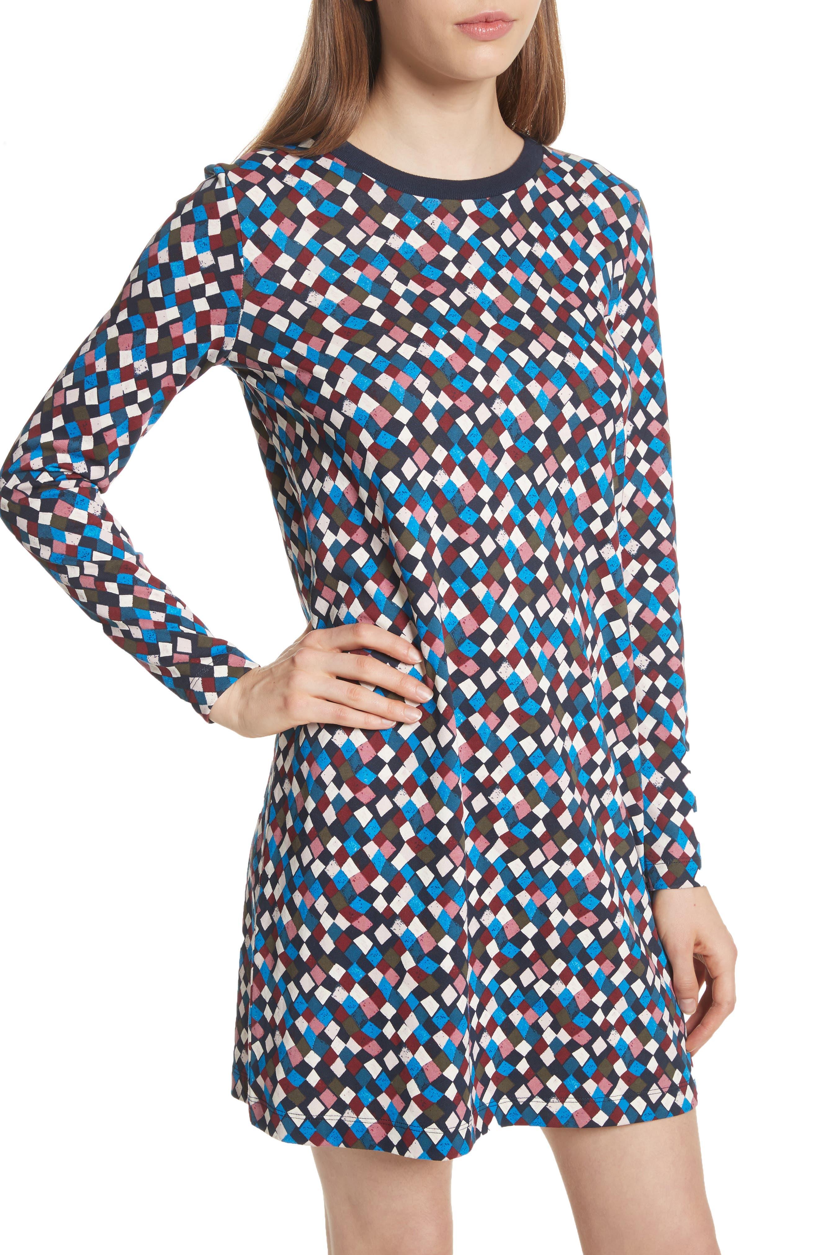 Maggie Print Cotton Shift Dress,                             Alternate thumbnail 4, color,                             487