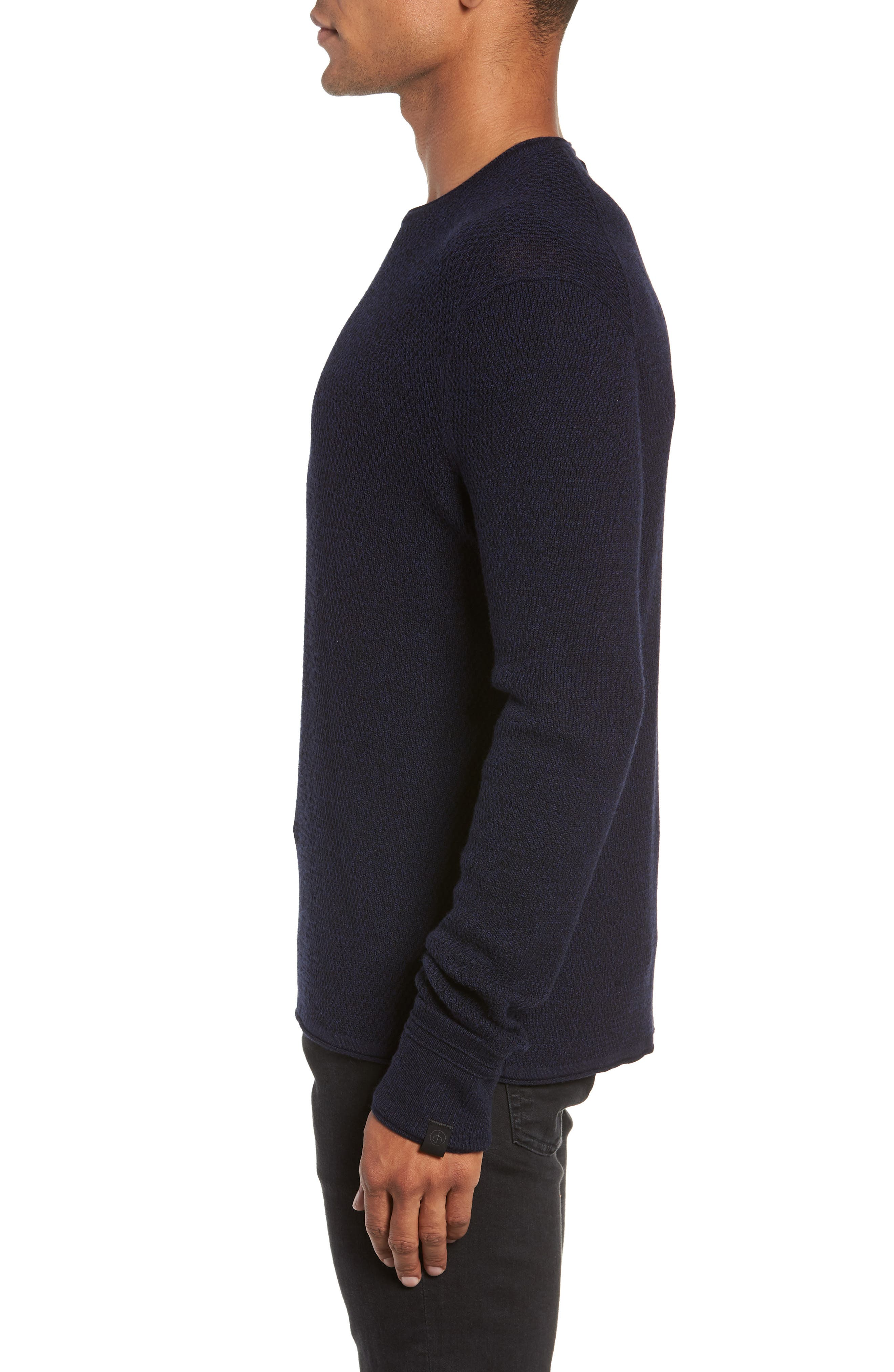Gregory Wool Blend Crewneck Sweater,                             Alternate thumbnail 3, color,                             NAVY