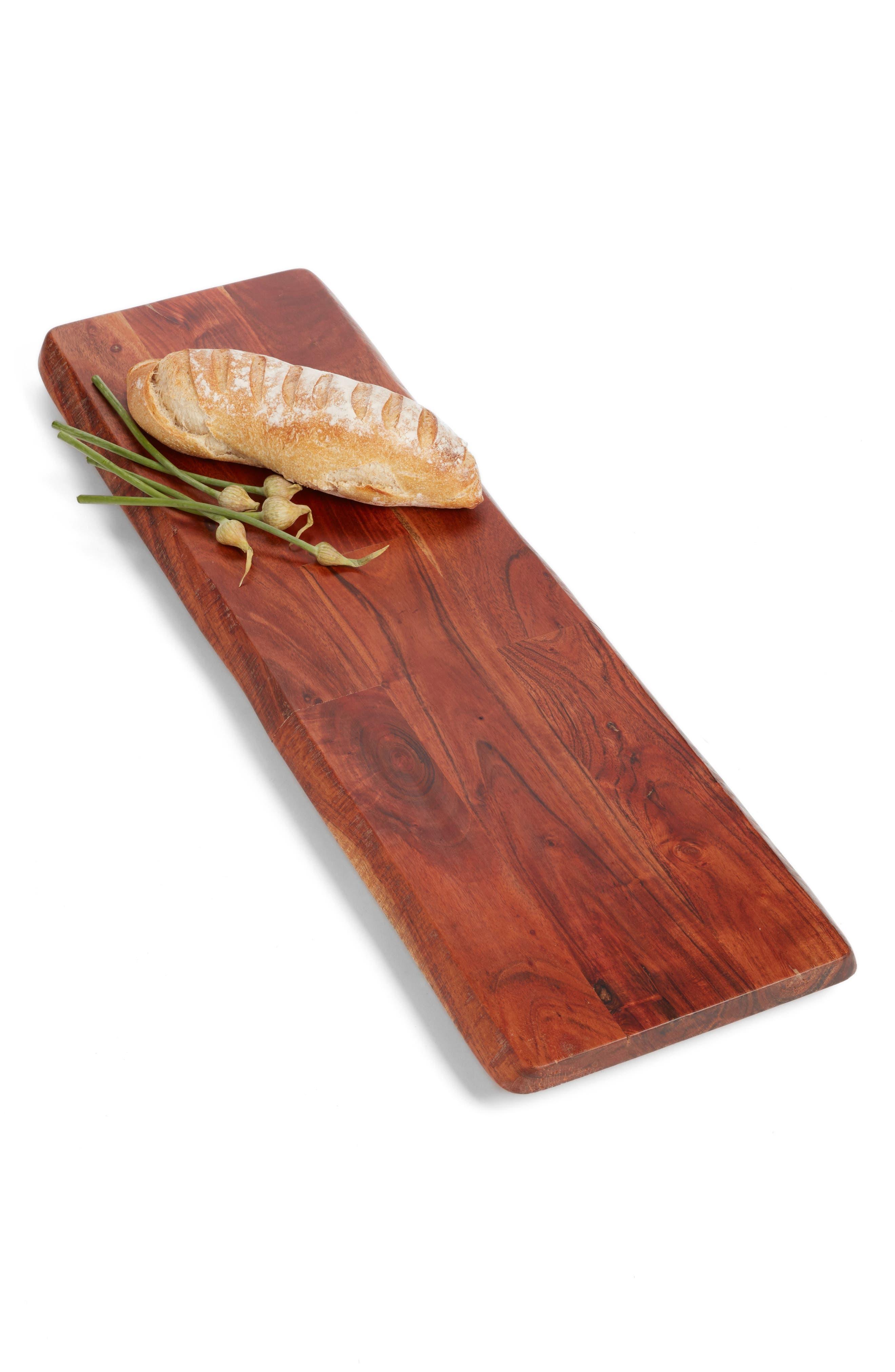 Large Acacia Wood Tray,                             Main thumbnail 1, color,                             BROWN