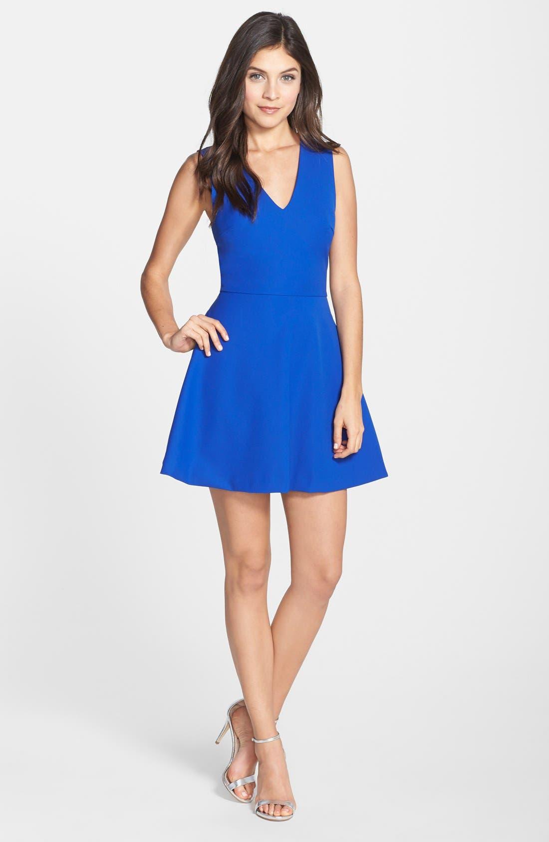 Bianca Back Cutout Fit & Flare Dress,                             Alternate thumbnail 11, color,                             COBALT