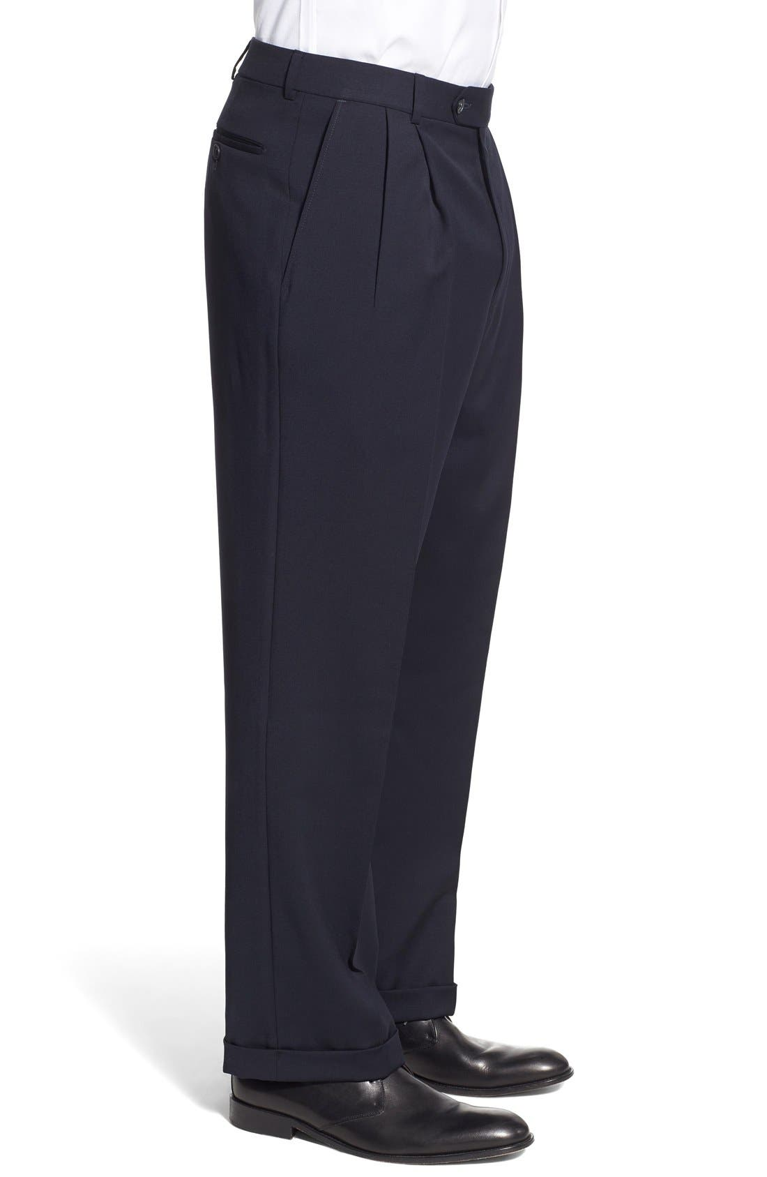 Pleated Solid Wool Trousers,                             Alternate thumbnail 38, color,