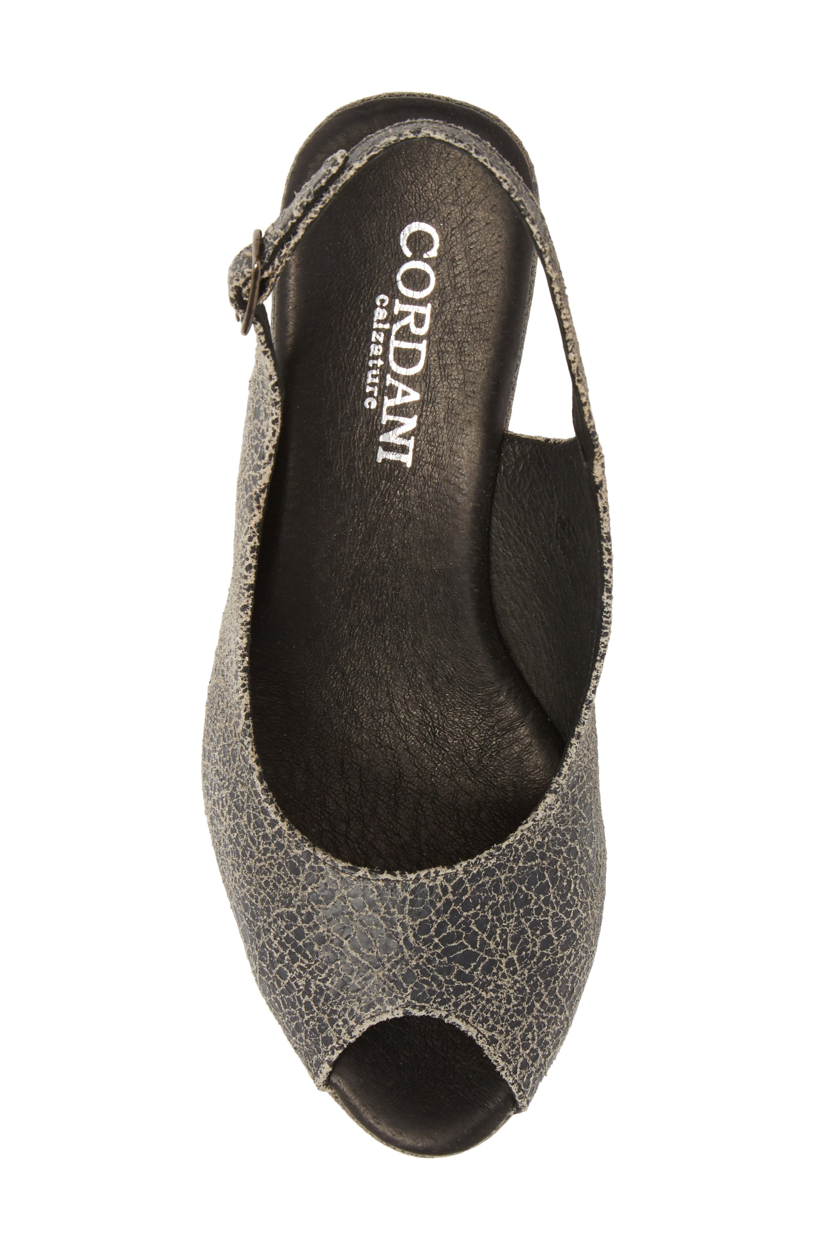 Fabrice Slingback Platform Sandal,                             Alternate thumbnail 5, color,                             GREY CRACKLE LEATHER