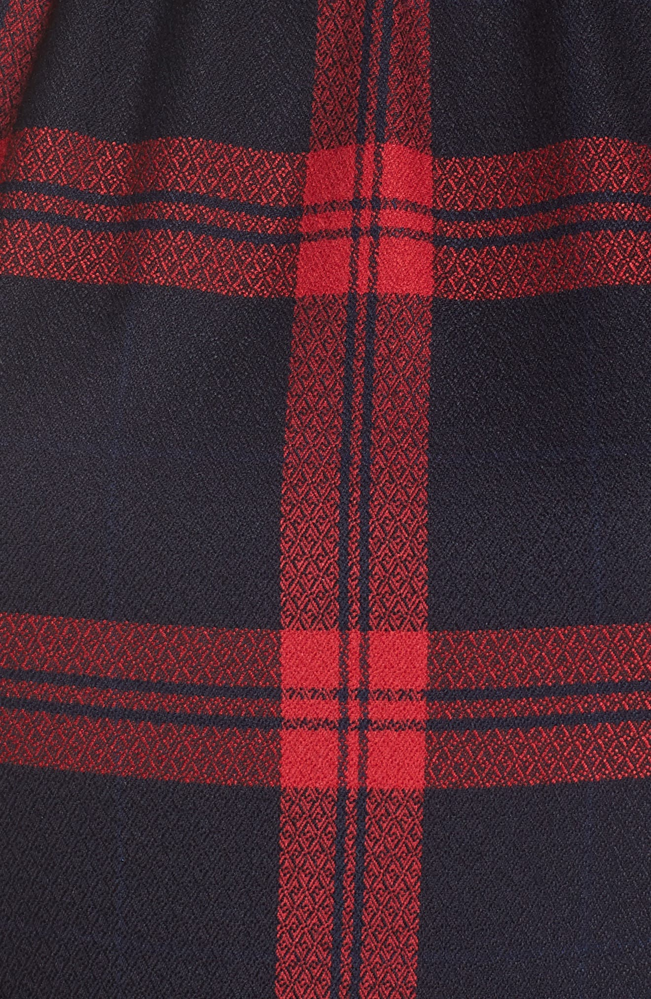 Jacquard Fit & Flare Dress,                             Alternate thumbnail 6, color,                             RED- NAVY PLAID