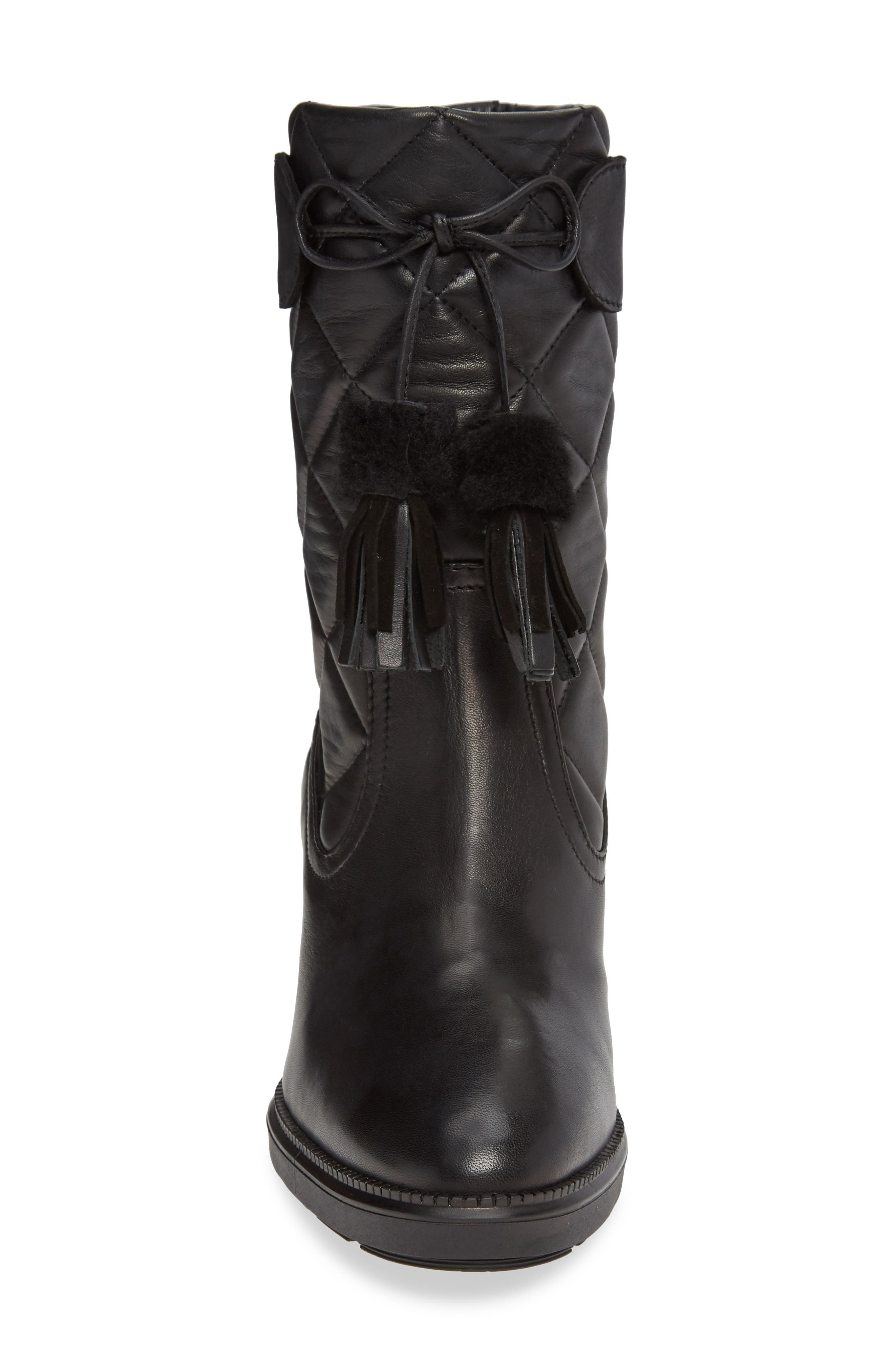 Caliana Water Resistant Genuine Shearling Lined Boot,                             Alternate thumbnail 4, color,                             BLACK NAPPA