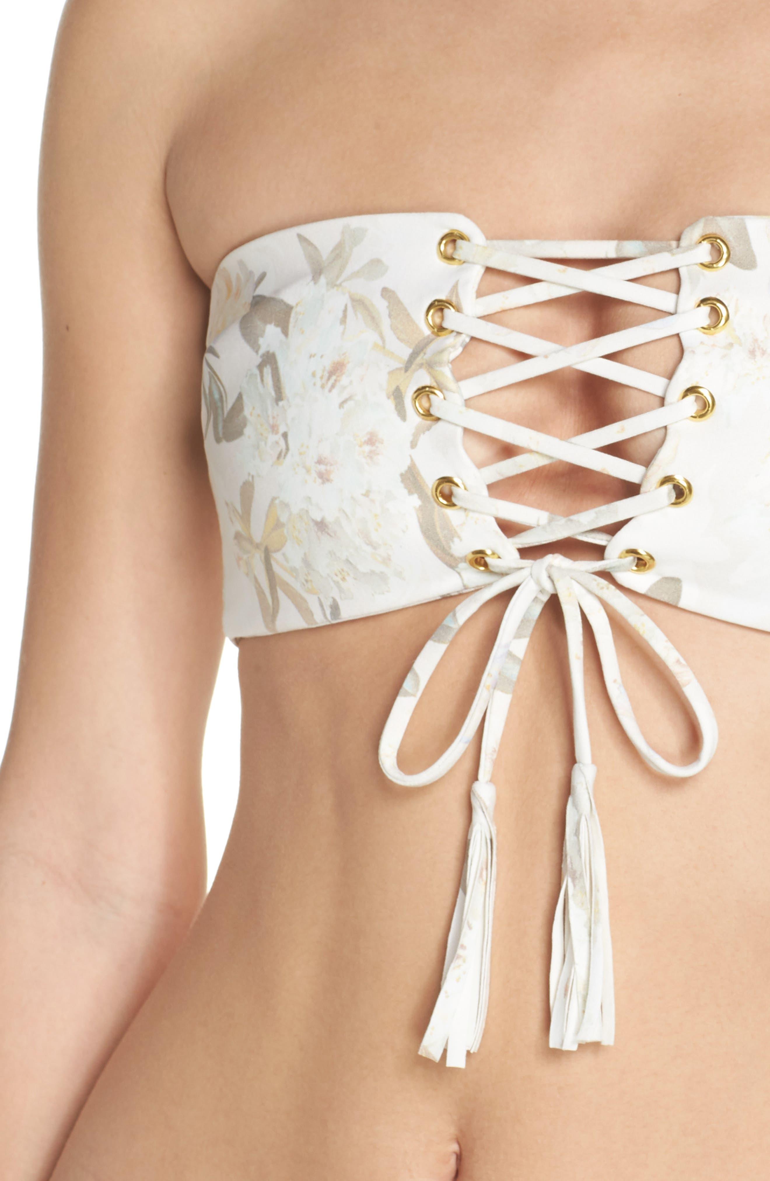 Floral Corset Bikini Top,                             Alternate thumbnail 4, color,                             ETE FLORAL WHITE